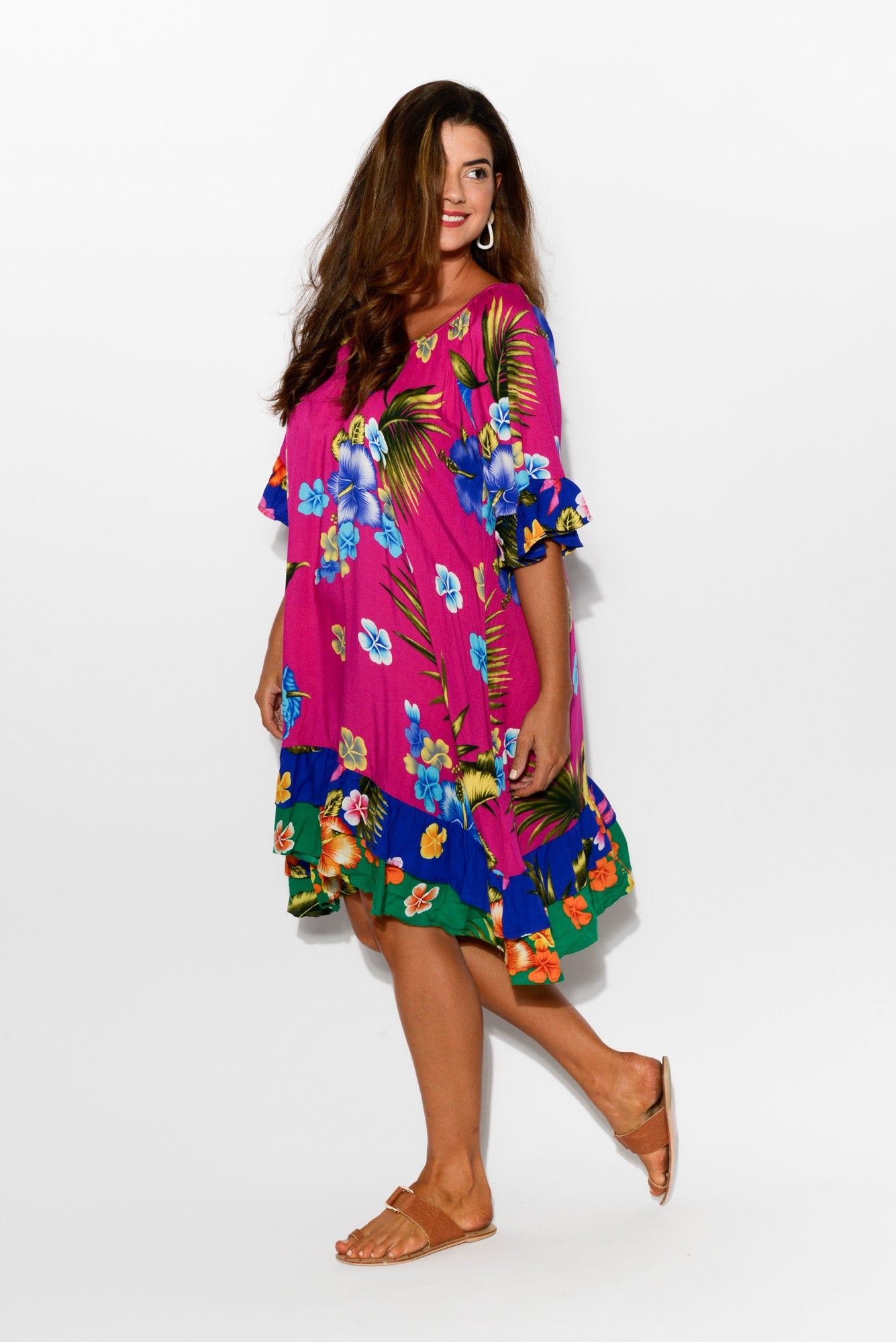 Pink Hibiscus Juliet Ruffle Dress - Blue Bungalow