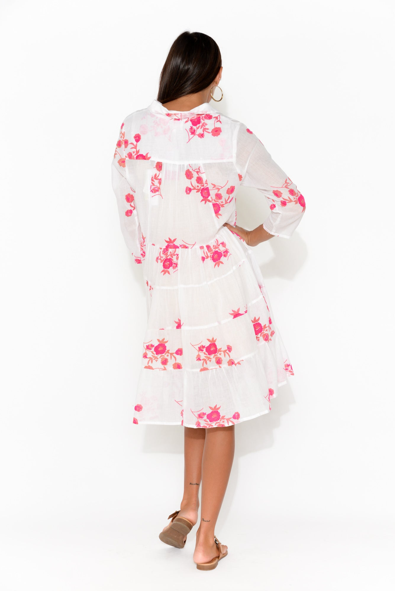 Naomi White Floral Button Down Dress