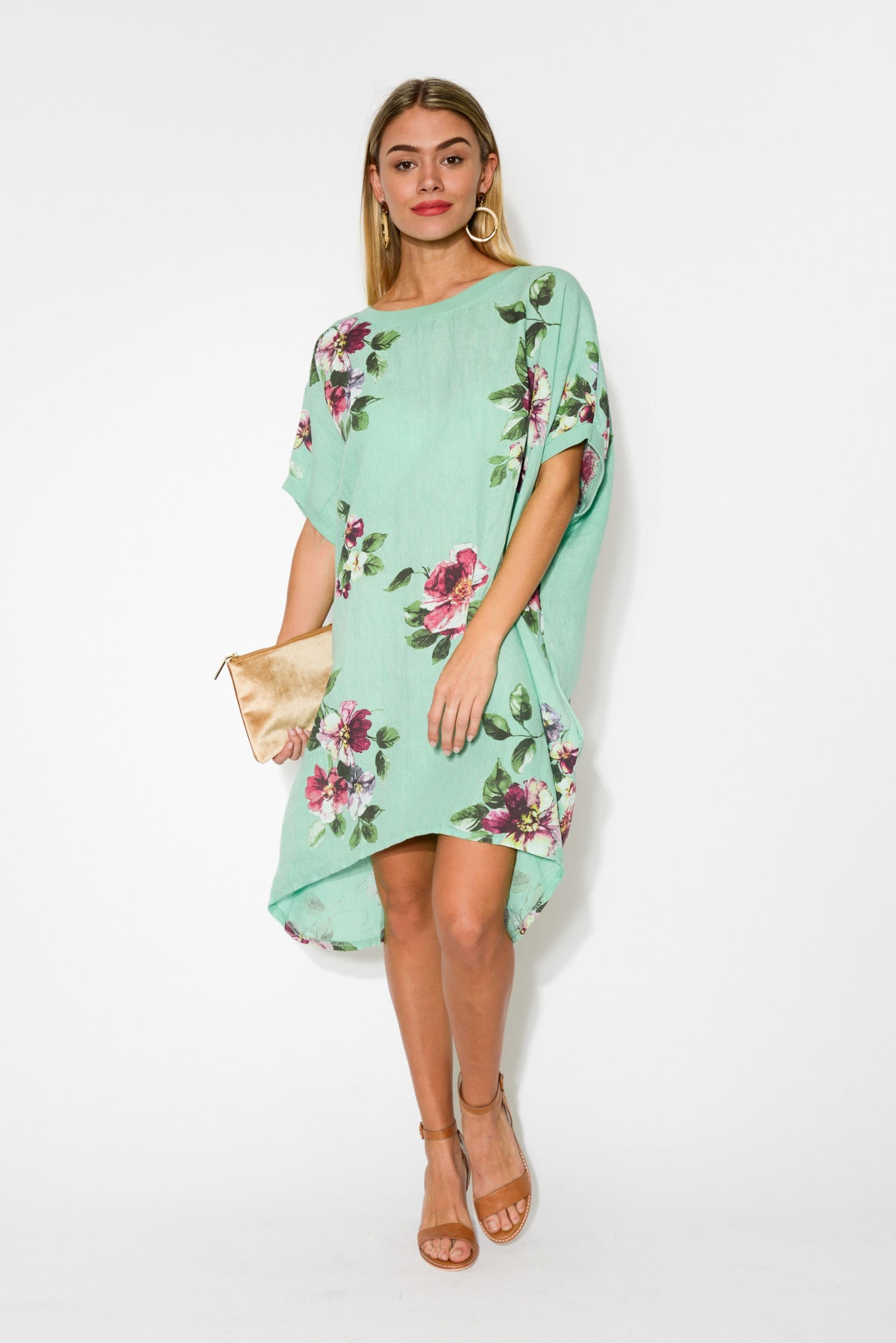 Naples Green Floral Linen Dress - Blue Bungalow