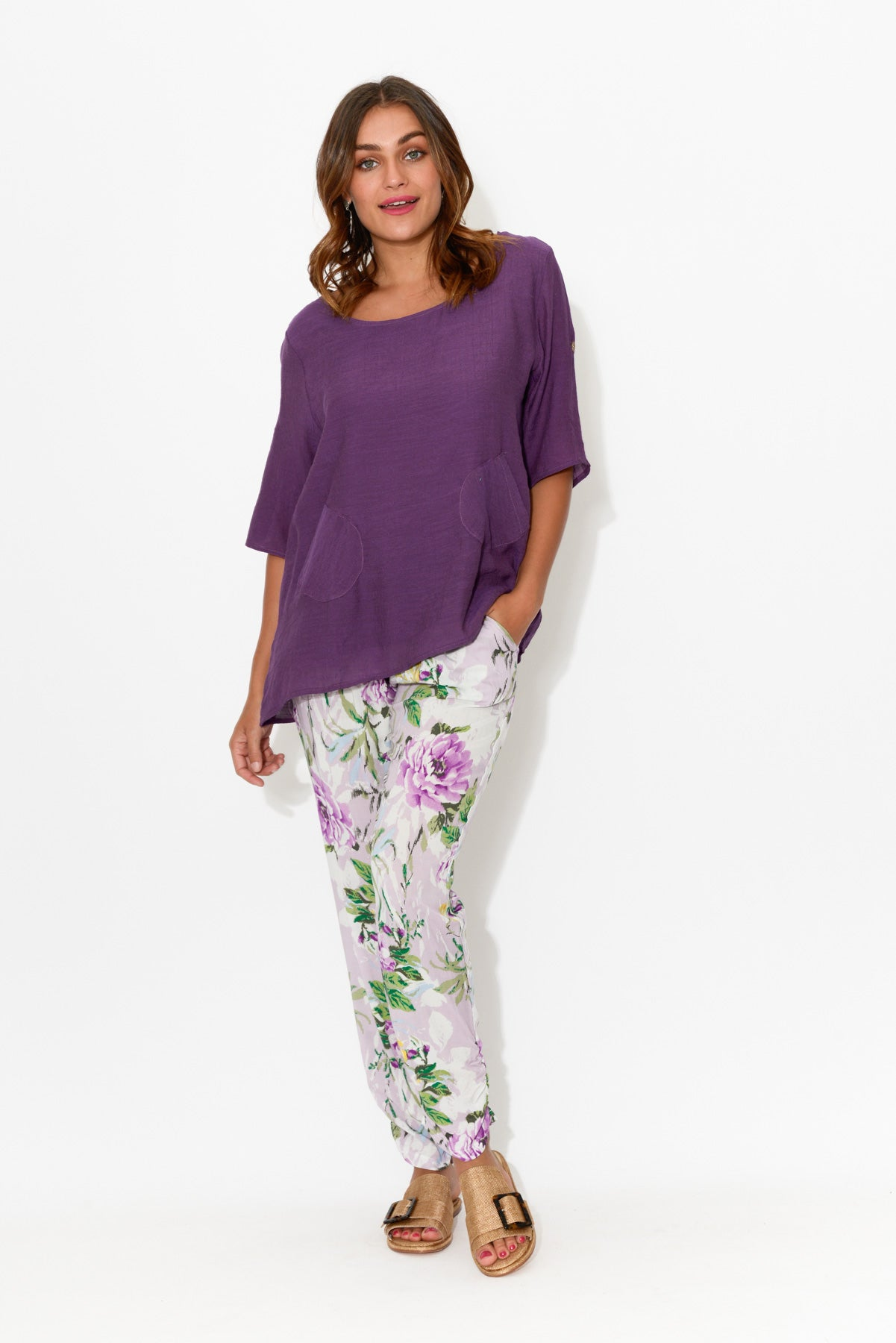Natasha Purple Pocket Top