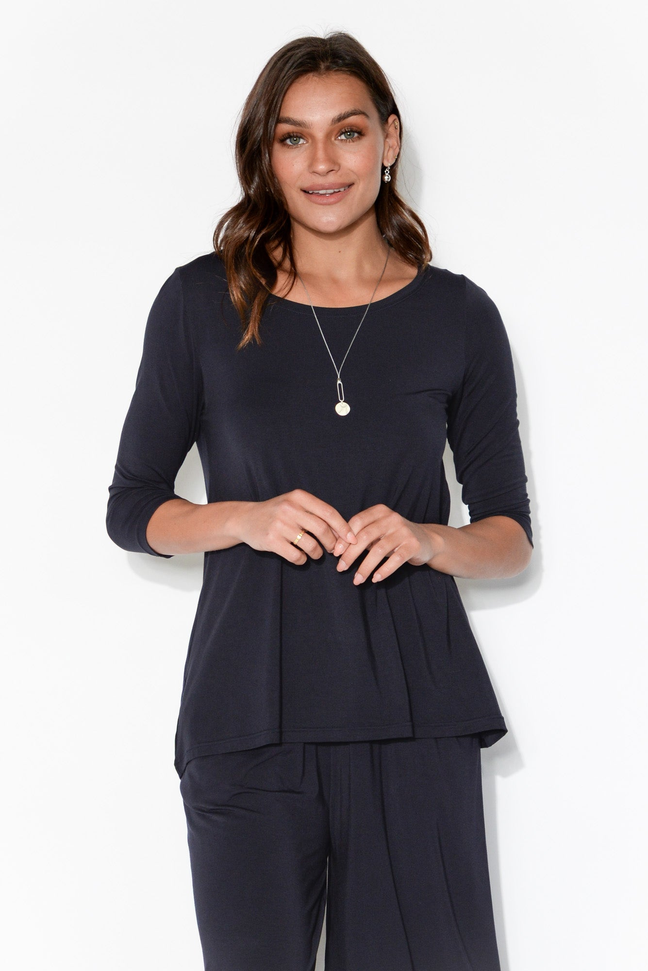 Navy 3/4 Sleeve Modal Swing Top