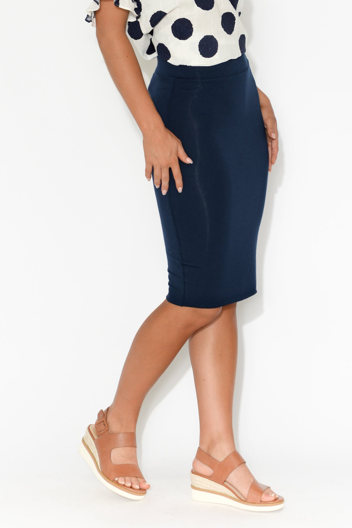 Navy Bamboo Double Layer Skirt