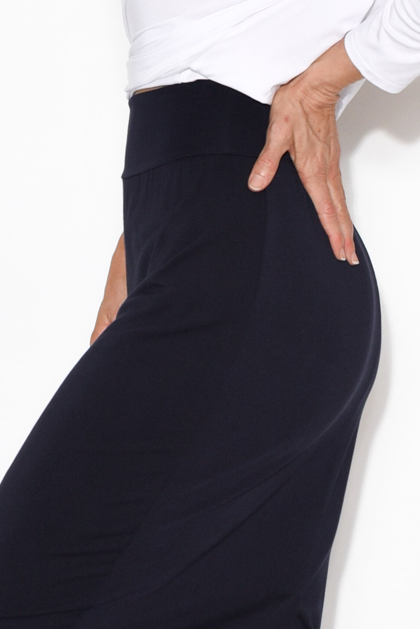 Navy Bamboo Maxi Tube Skirt