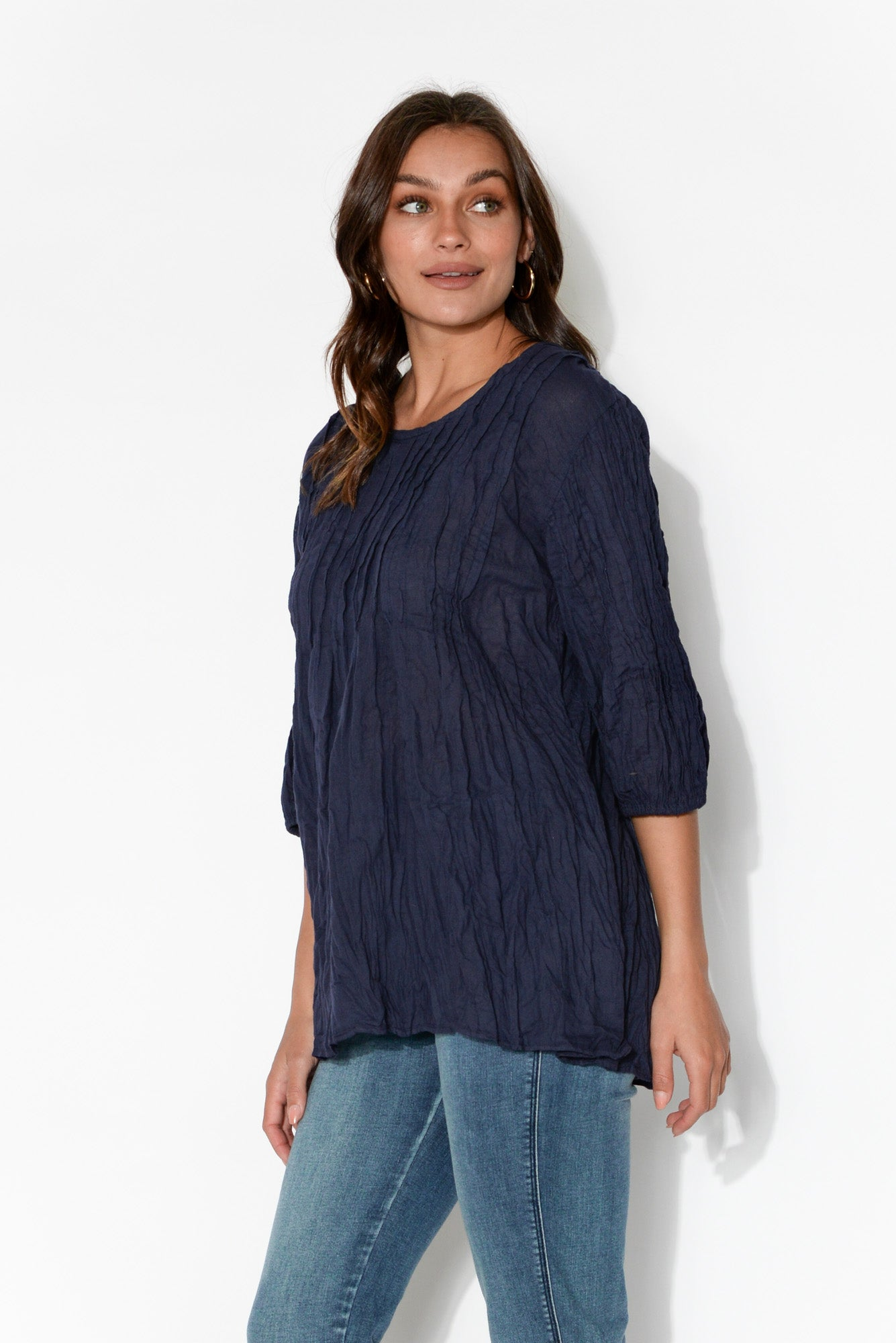 Navy Crinkle Cotton Tunic Top