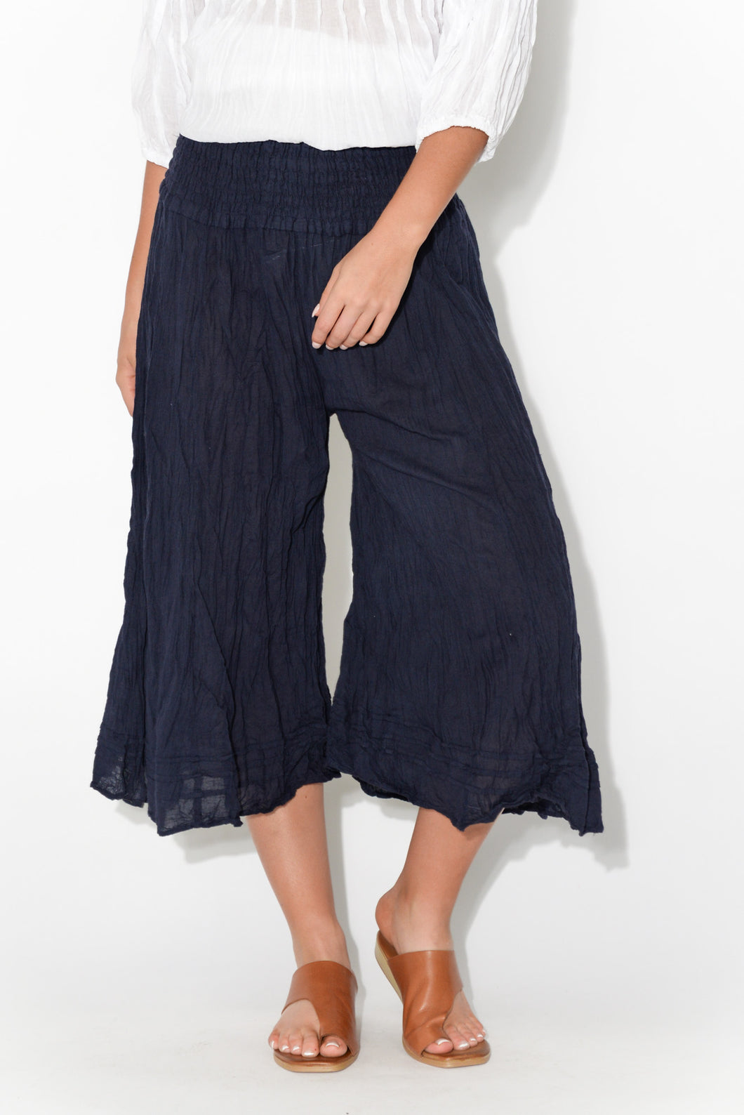 Navy Cropped Crinkle Cotton Pant