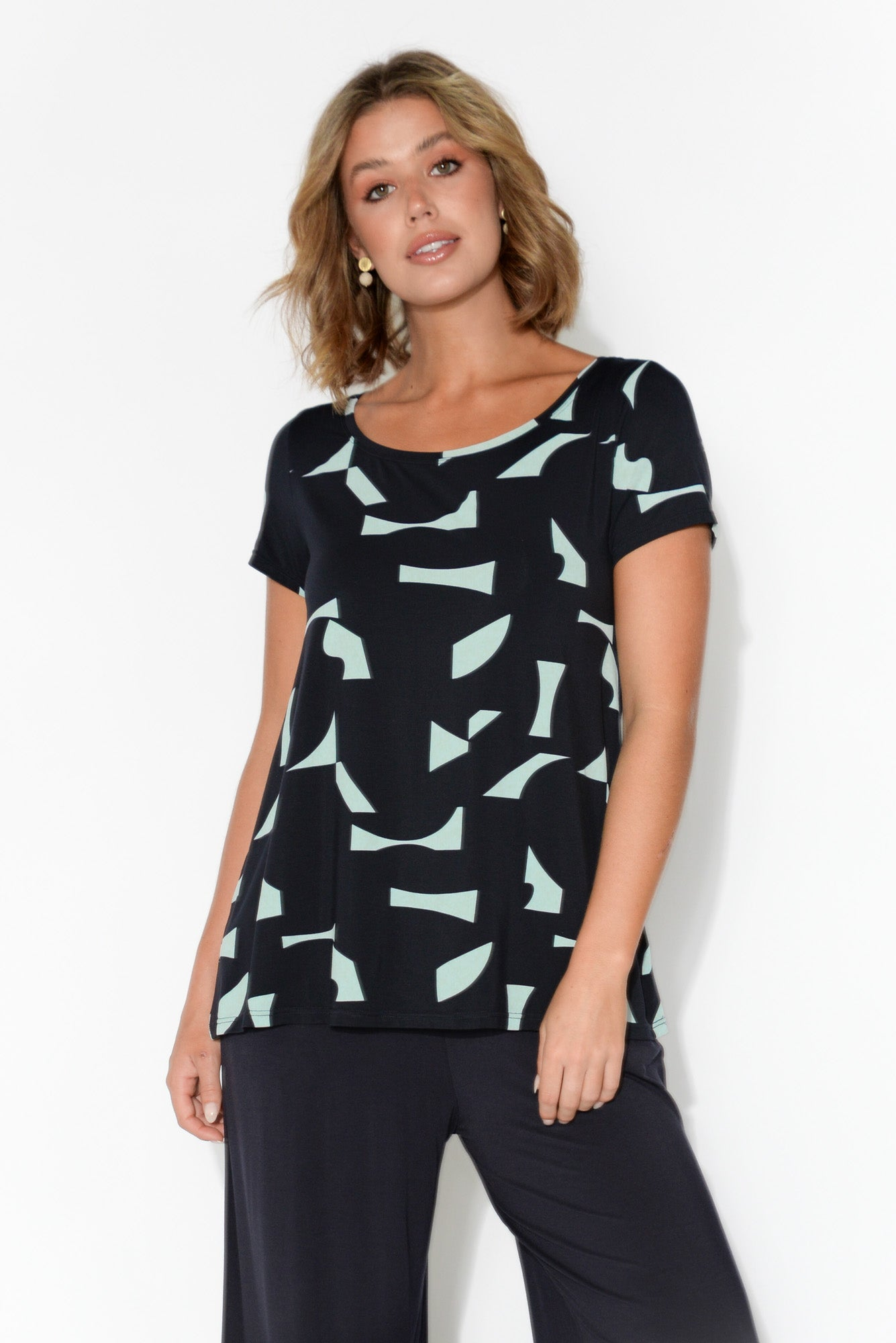 Navy Jigsaw Modal Swing Tee