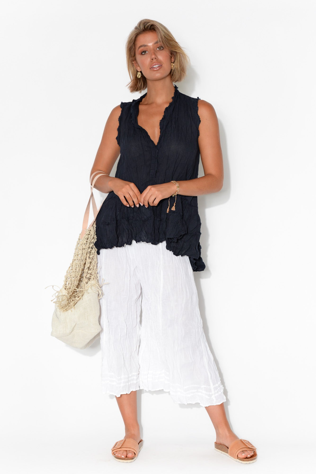 Navy Sleeveless Crinkle Cotton Top