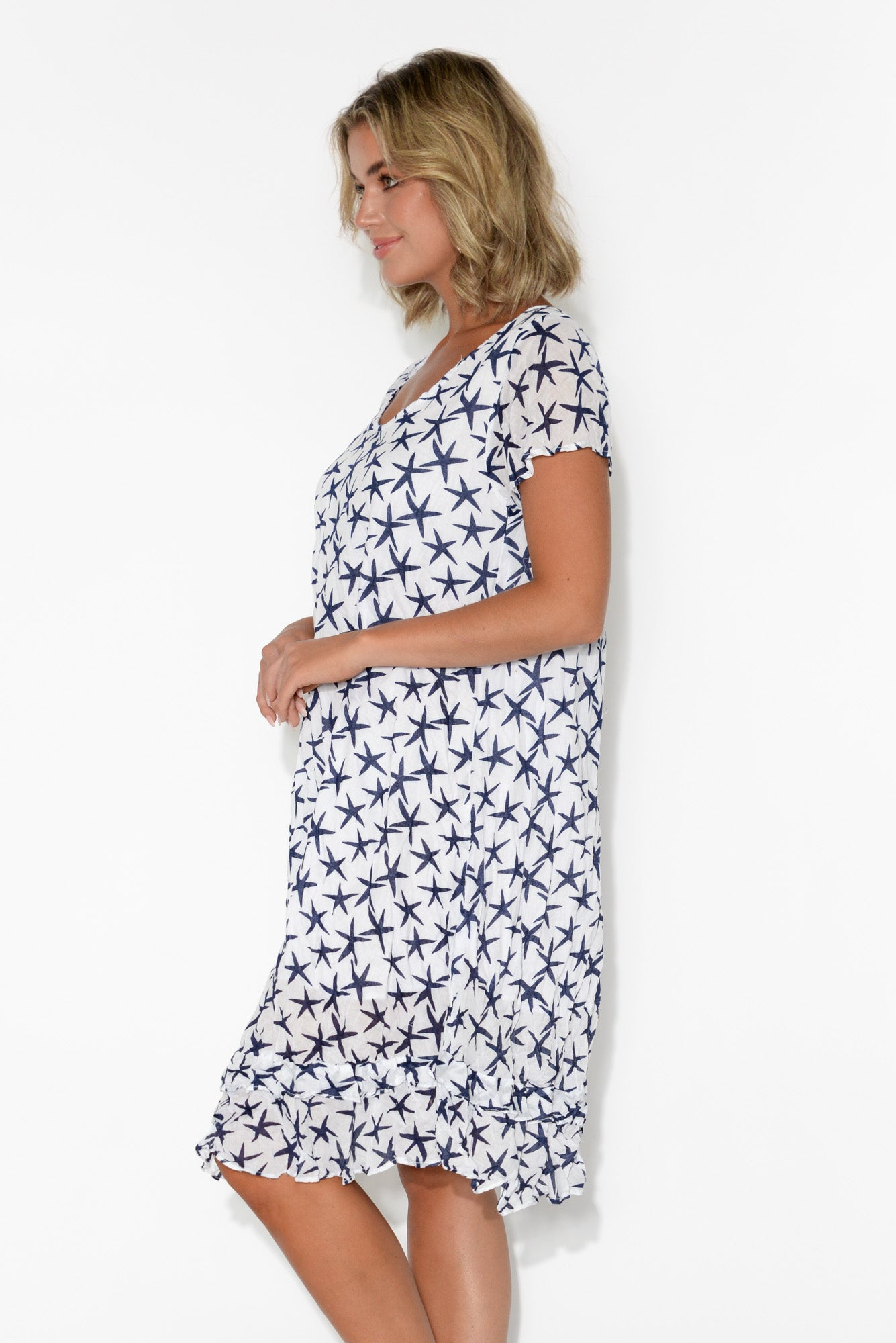 Navy Star Crinkle Cotton Swing Dress