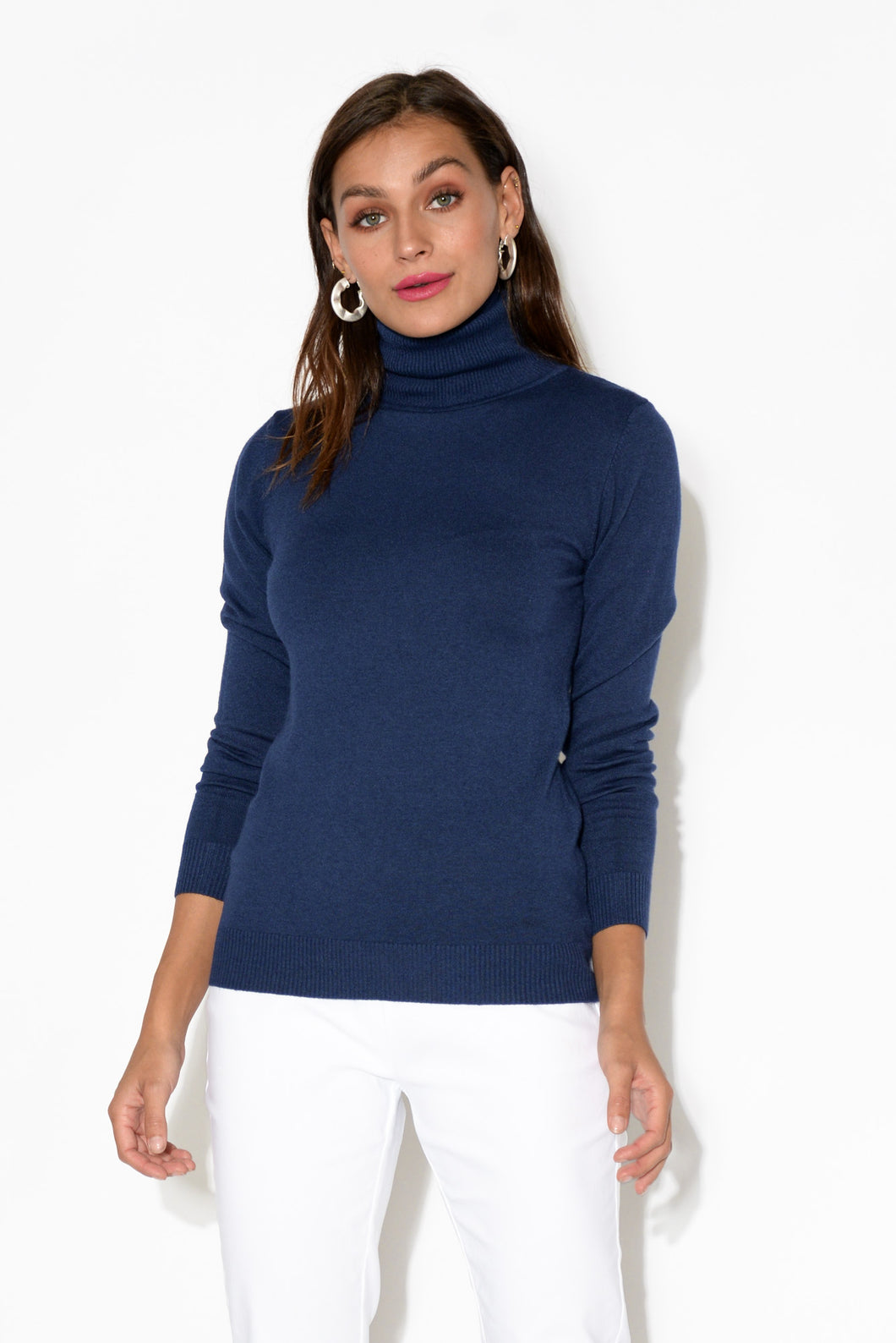 Navy Turtleneck Knit Top