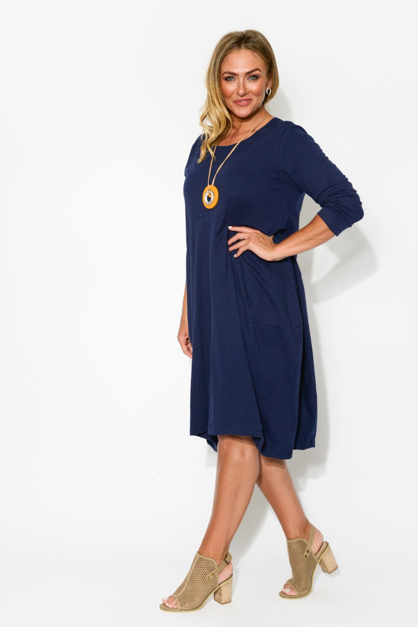 Navy Balloon Cotton Dress - Blue Bungalow