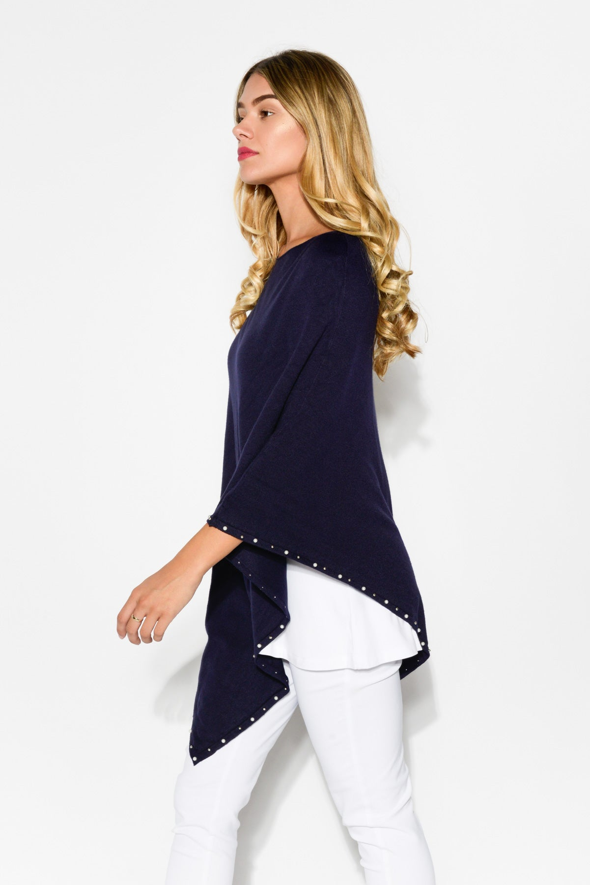 Navy Beaded Knit Poncho - Blue Bungalow