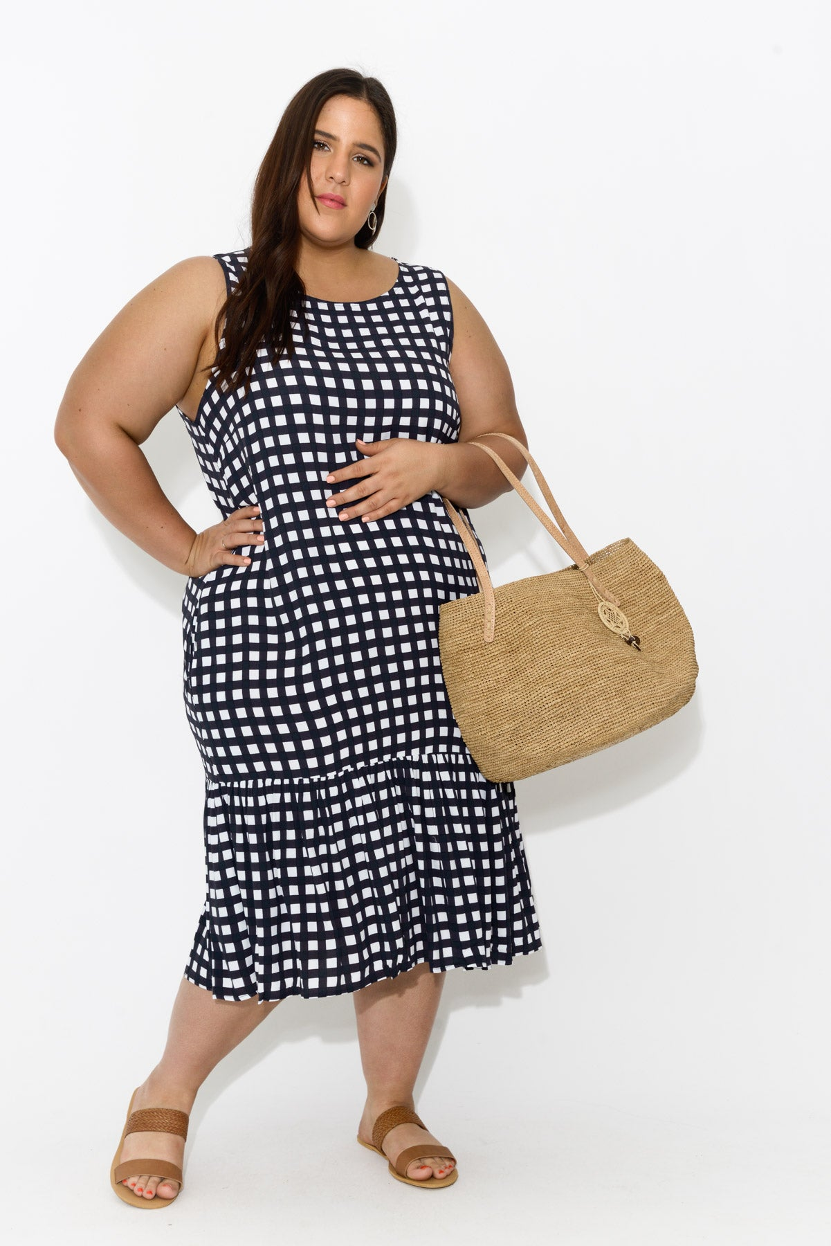 Navy Check Ruffle Dress - Blue Bungalow