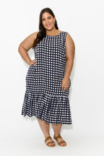 plus-size,curve-dresses,Navy Check Ruffle Dress - Blue Bungalow