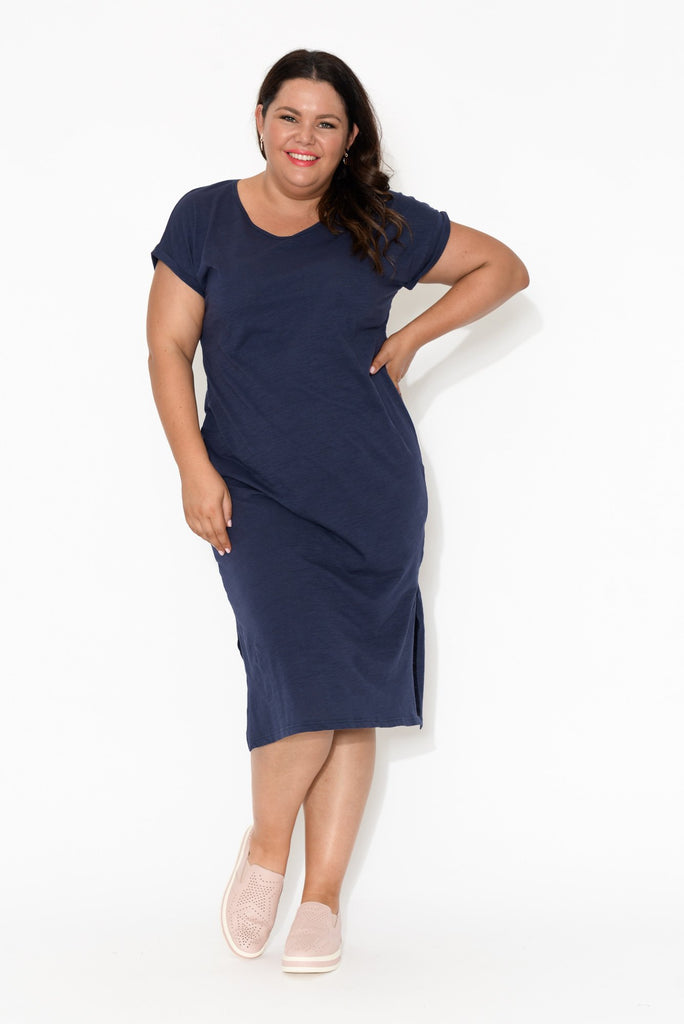 Navy Cotton Slub V Neck Tee Dress