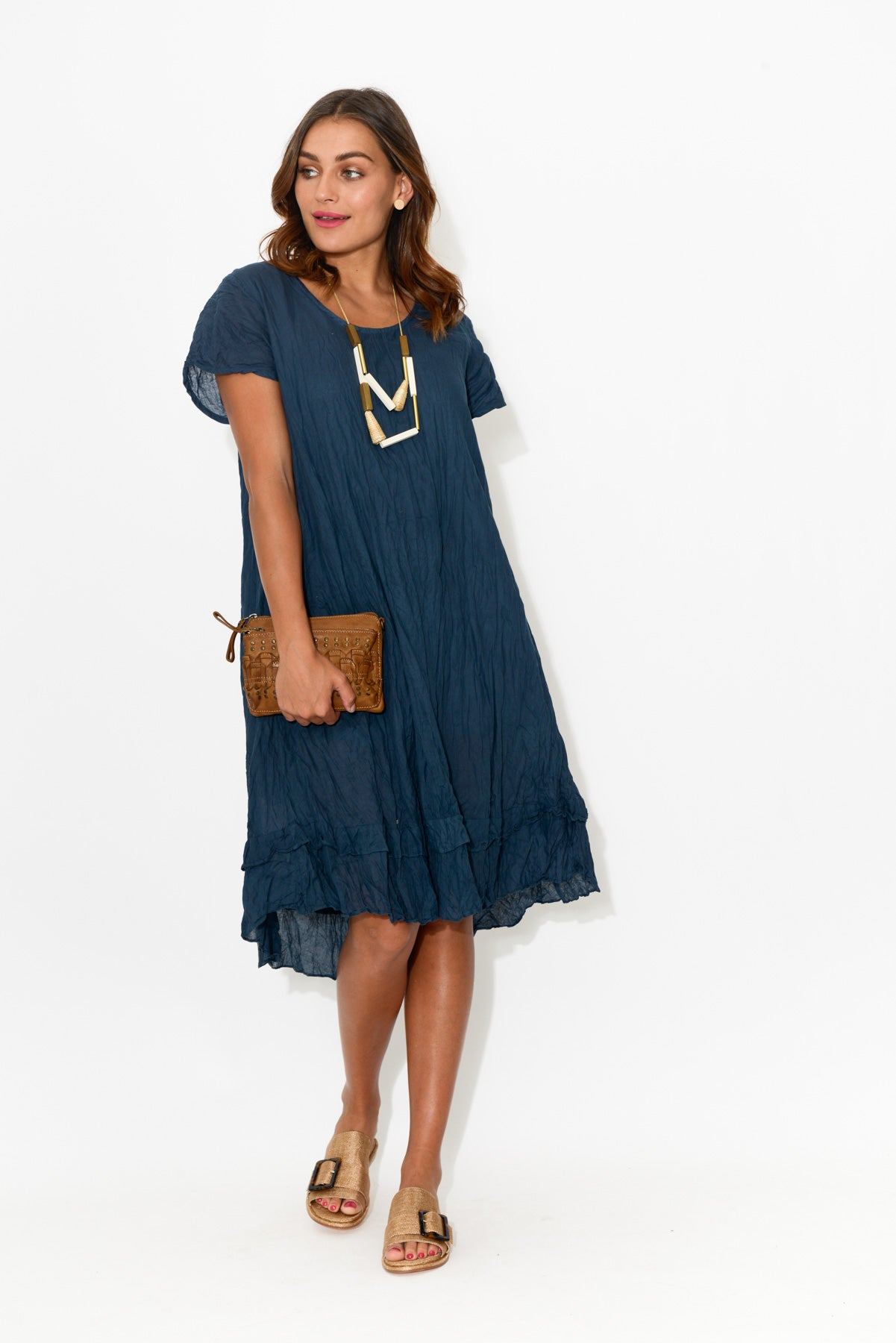 Navy Crinkle Cotton Swing Dress - Blue Bungalow