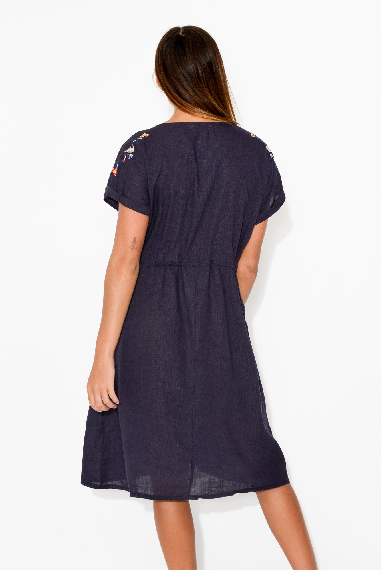 Navy Embroidered Tassel Tie Dress