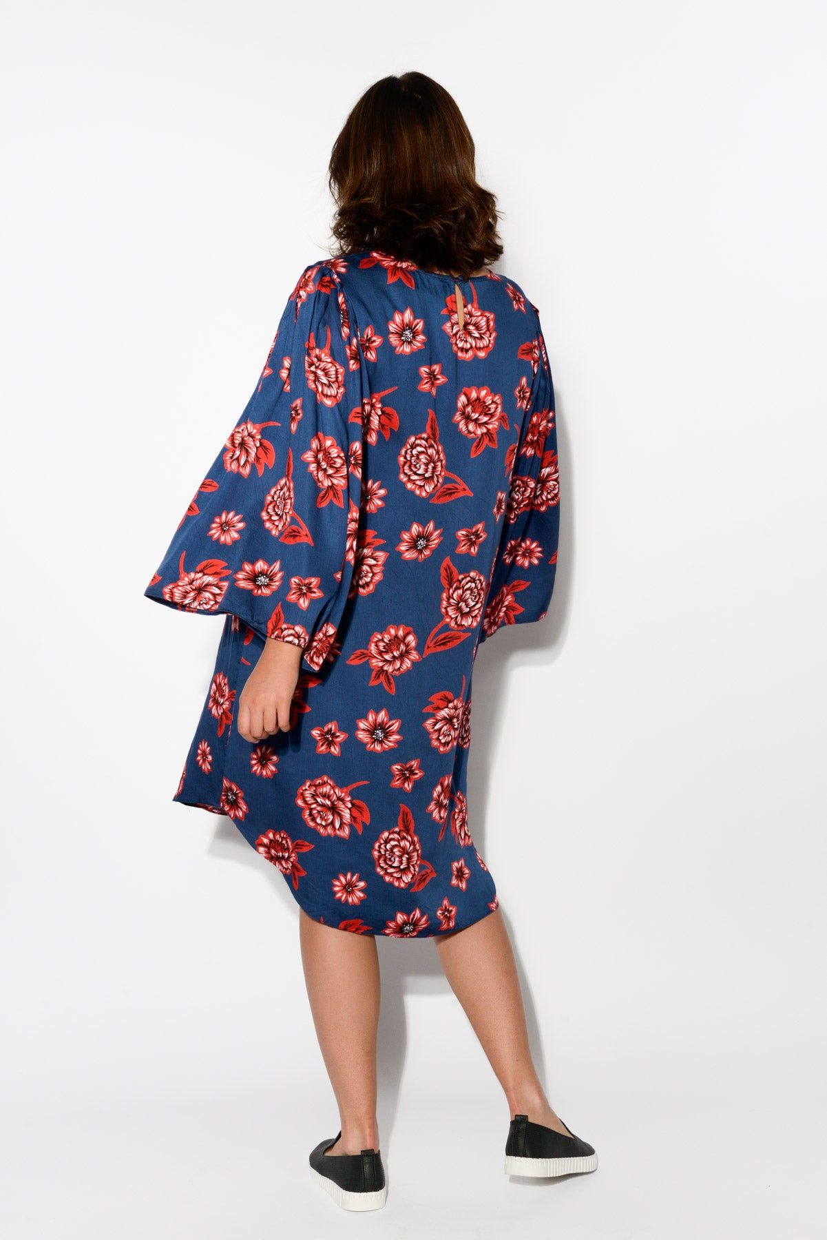 Navy Floral Bell Sleeve Dress - Blue Bungalow