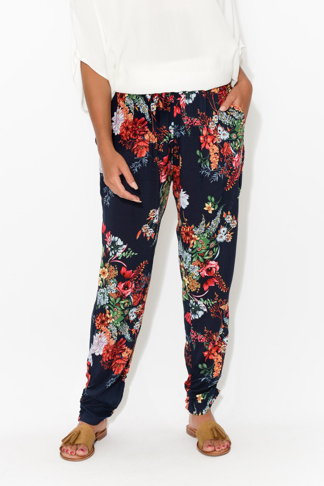 Navy Floral Pant