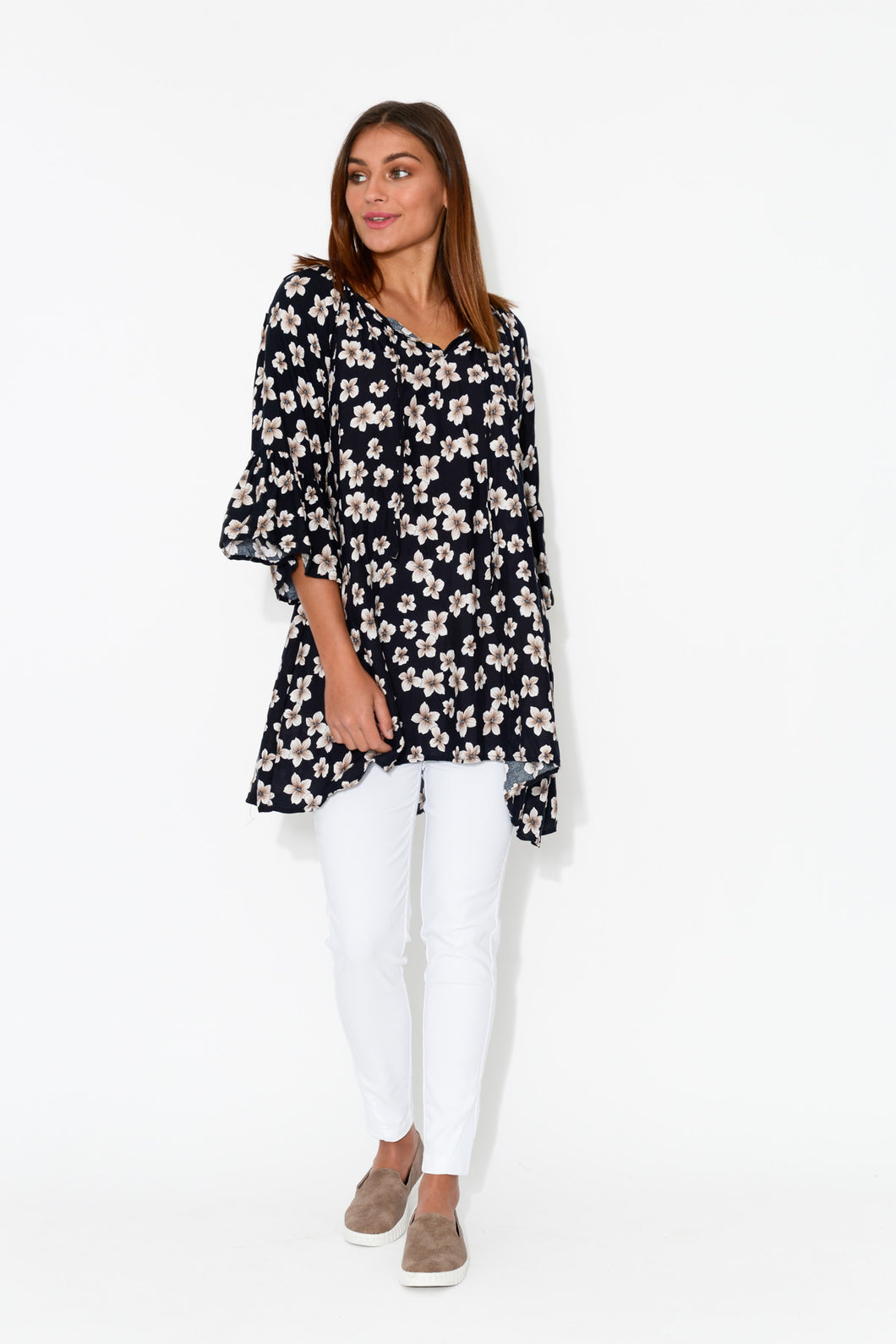 Navy Flowers Bell Sleeve Top - Blue Bungalow