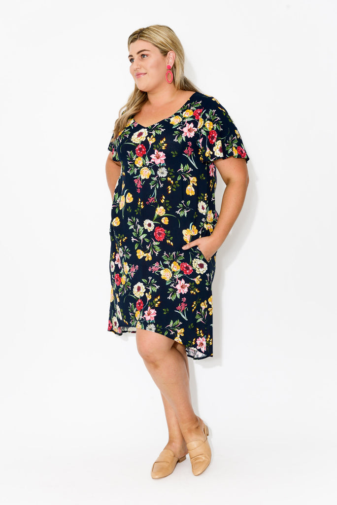 Navy Garden Butterfly Sleeve Dress