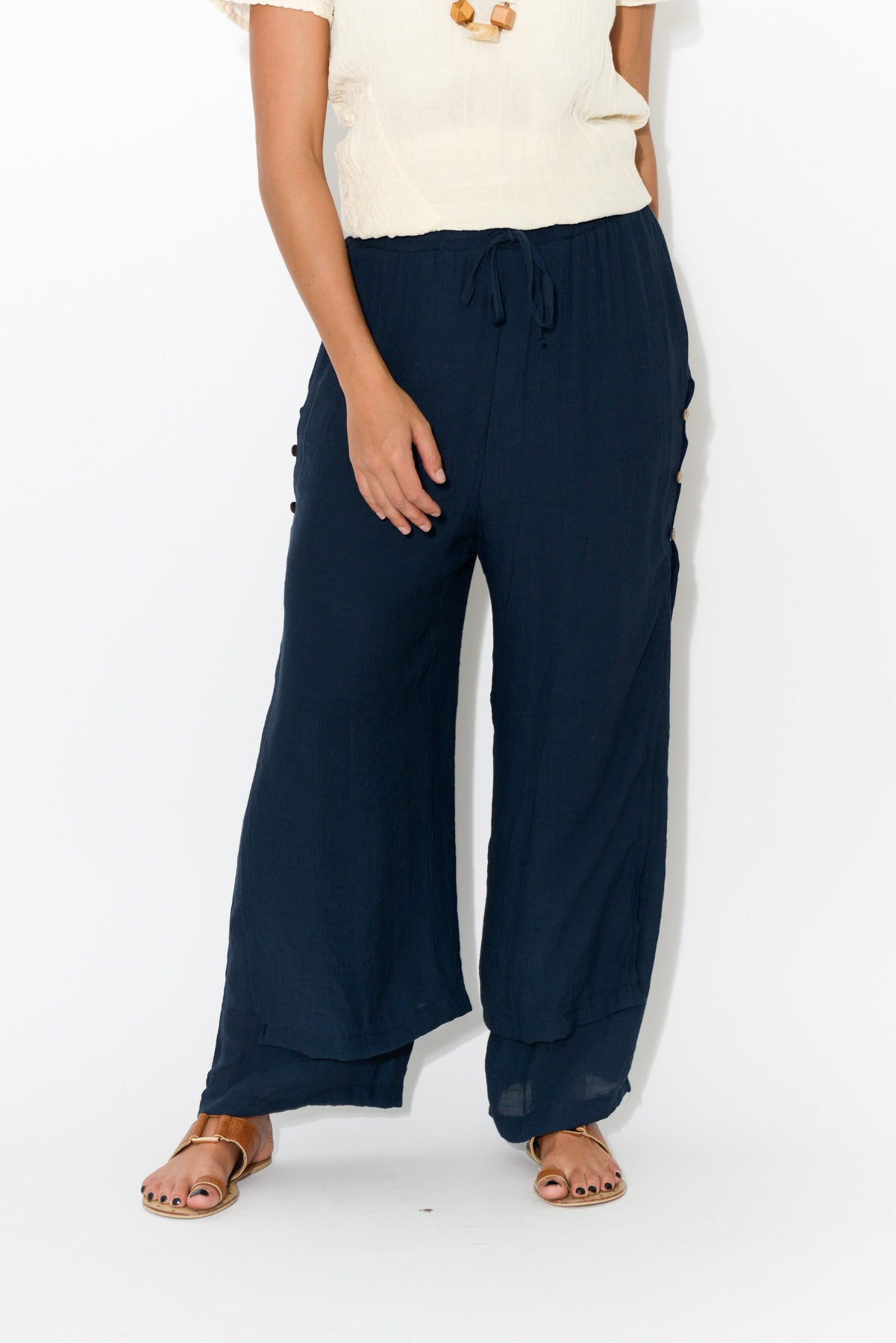 Navy Layered Wide Leg Pant - Blue Bungalow