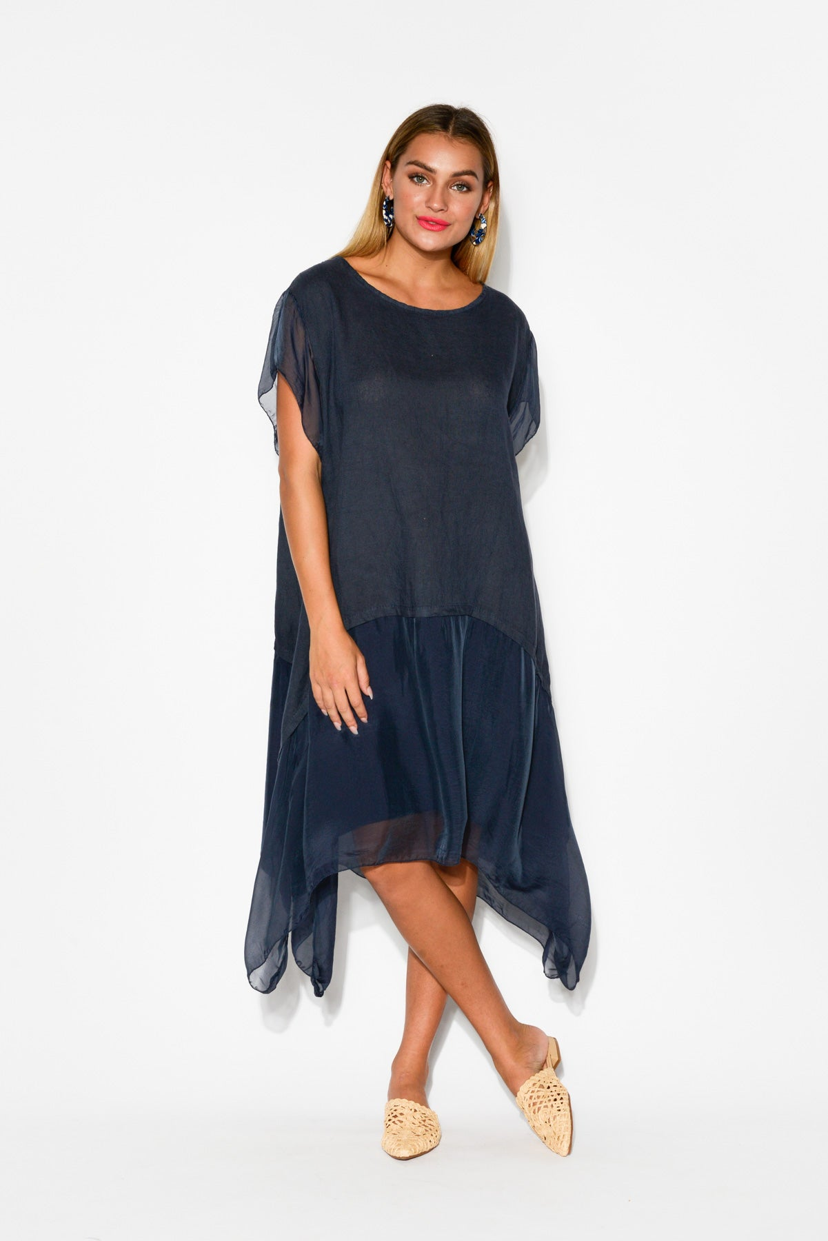 Navy Silk Layer Linen Dress - Blue Bungalow