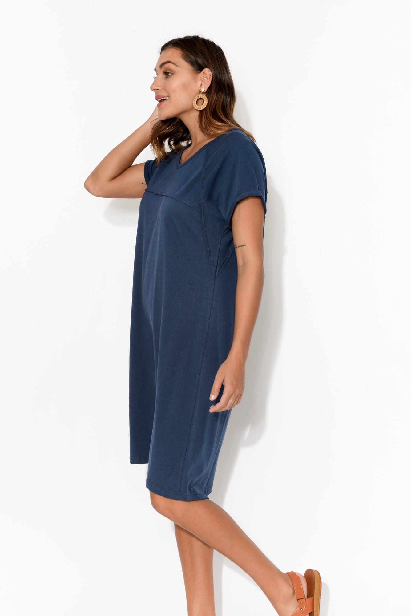 Navy Slouch Tee Dress