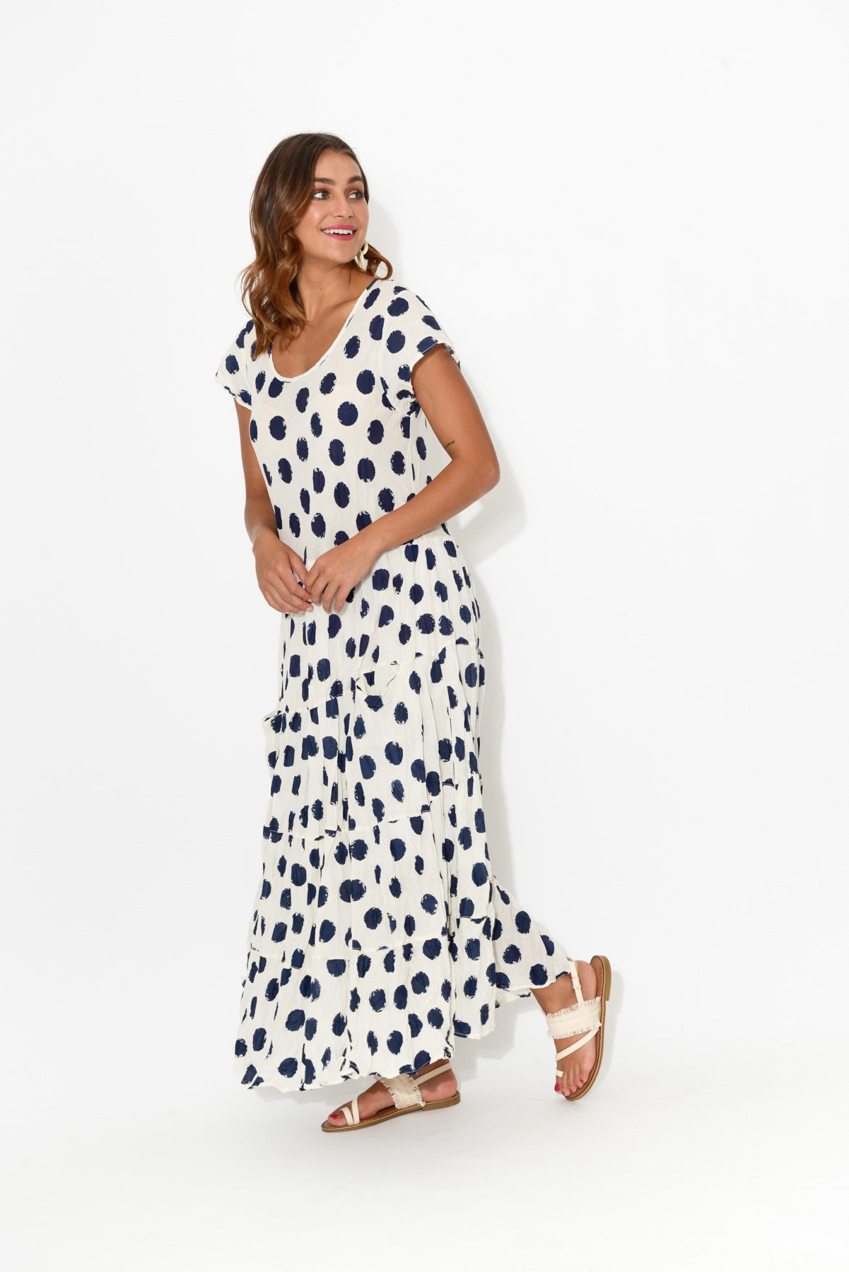 Navy Spot Flared Crinkle Cotton Dress - Blue Bungalow
