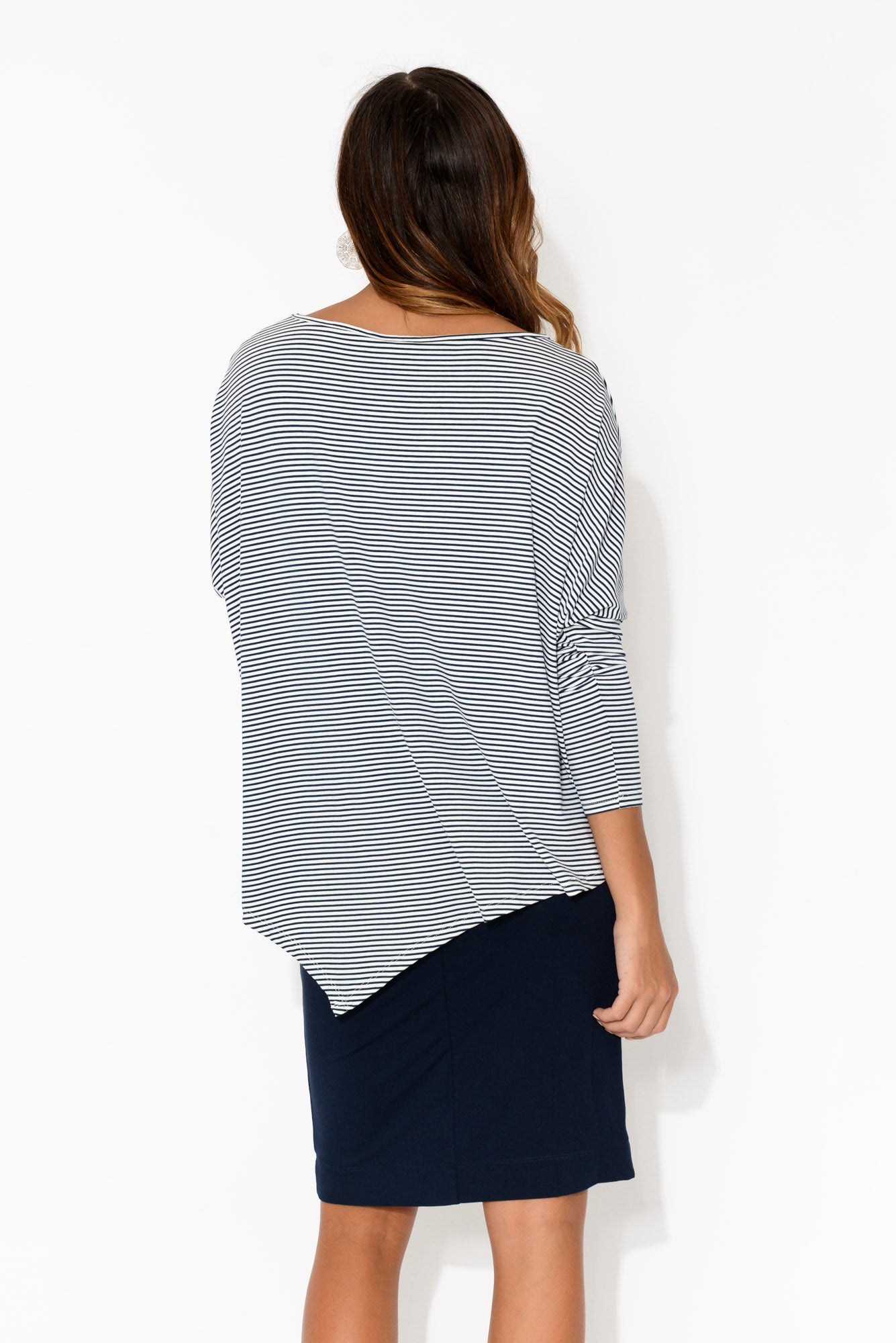 Navy Stripe Bamboo Relax Boatneck Top