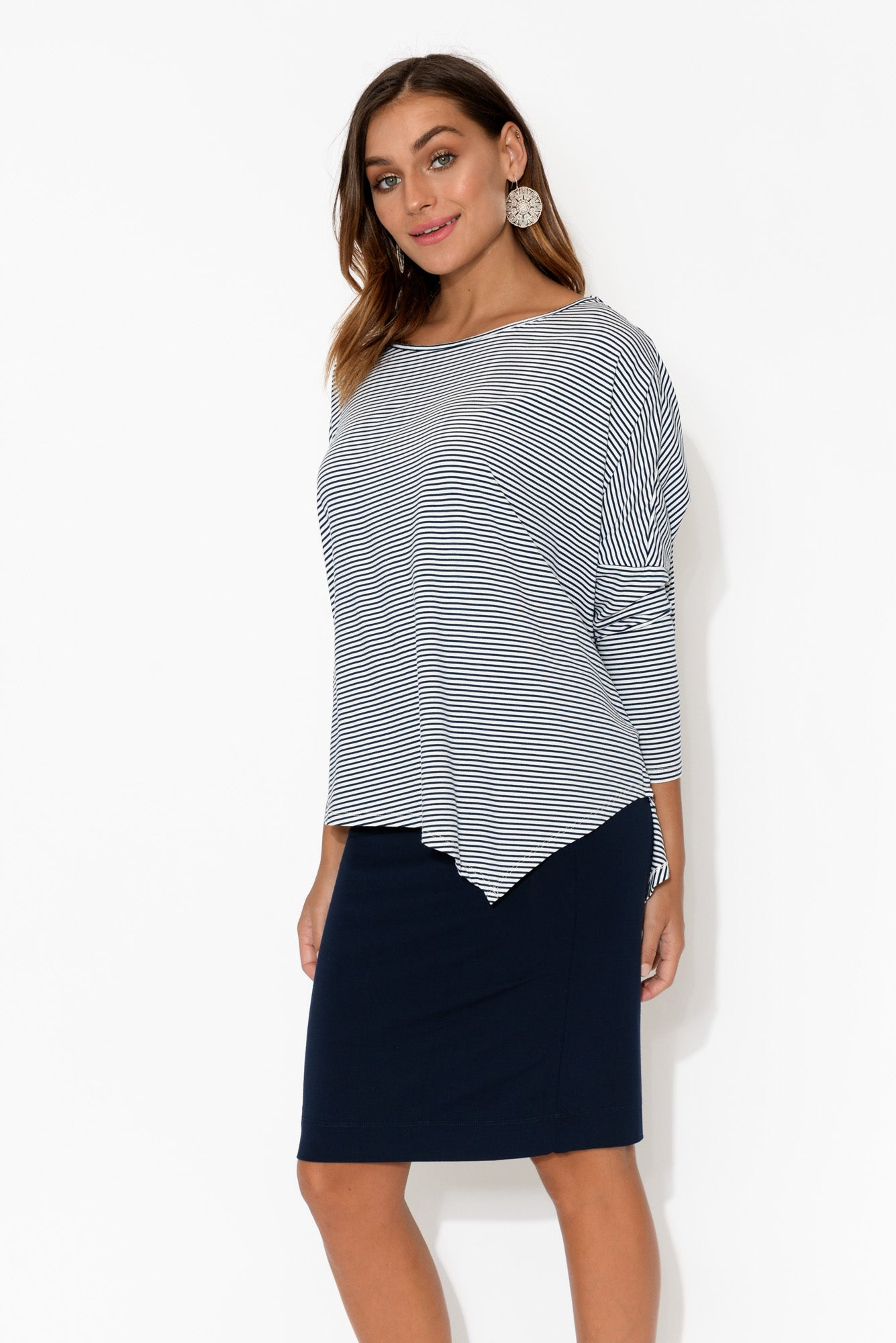 Navy Stripe Bamboo Relaxed Boatneck Top