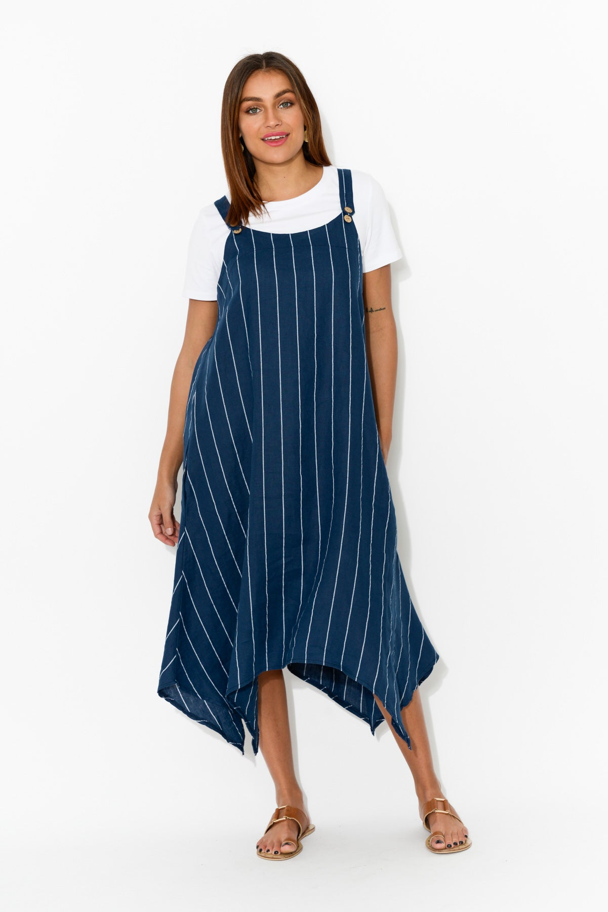 Navy Stripe Linen Pinafore Dress - Blue Bungalow