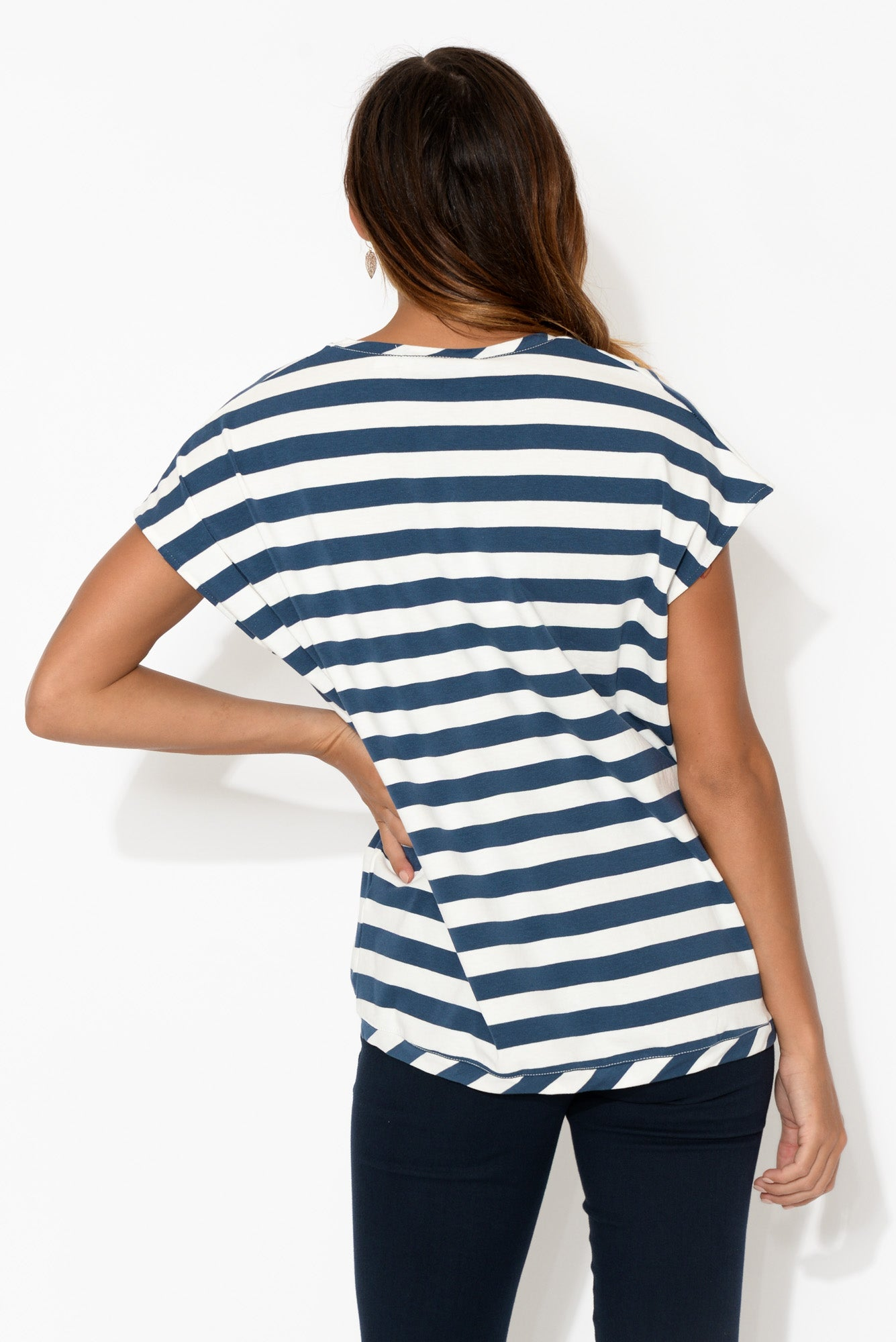 Navy Stripe Oversized Shell Tee