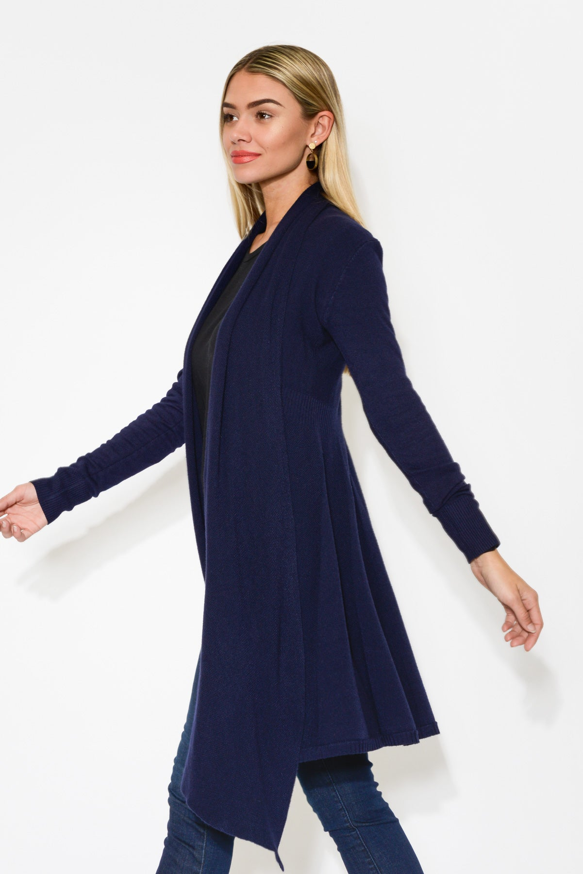 Navy Swing Cashmere Blend Cardigan - Blue Bungalow