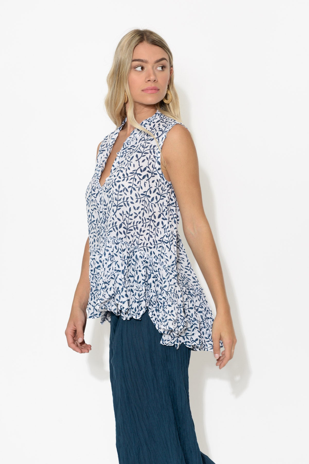 Navy Vines Sleeveless Crinkle Cotton Top