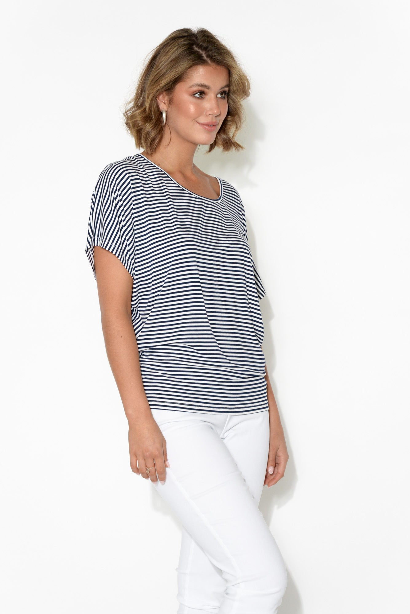 Navy and White Stripe Maui Tee