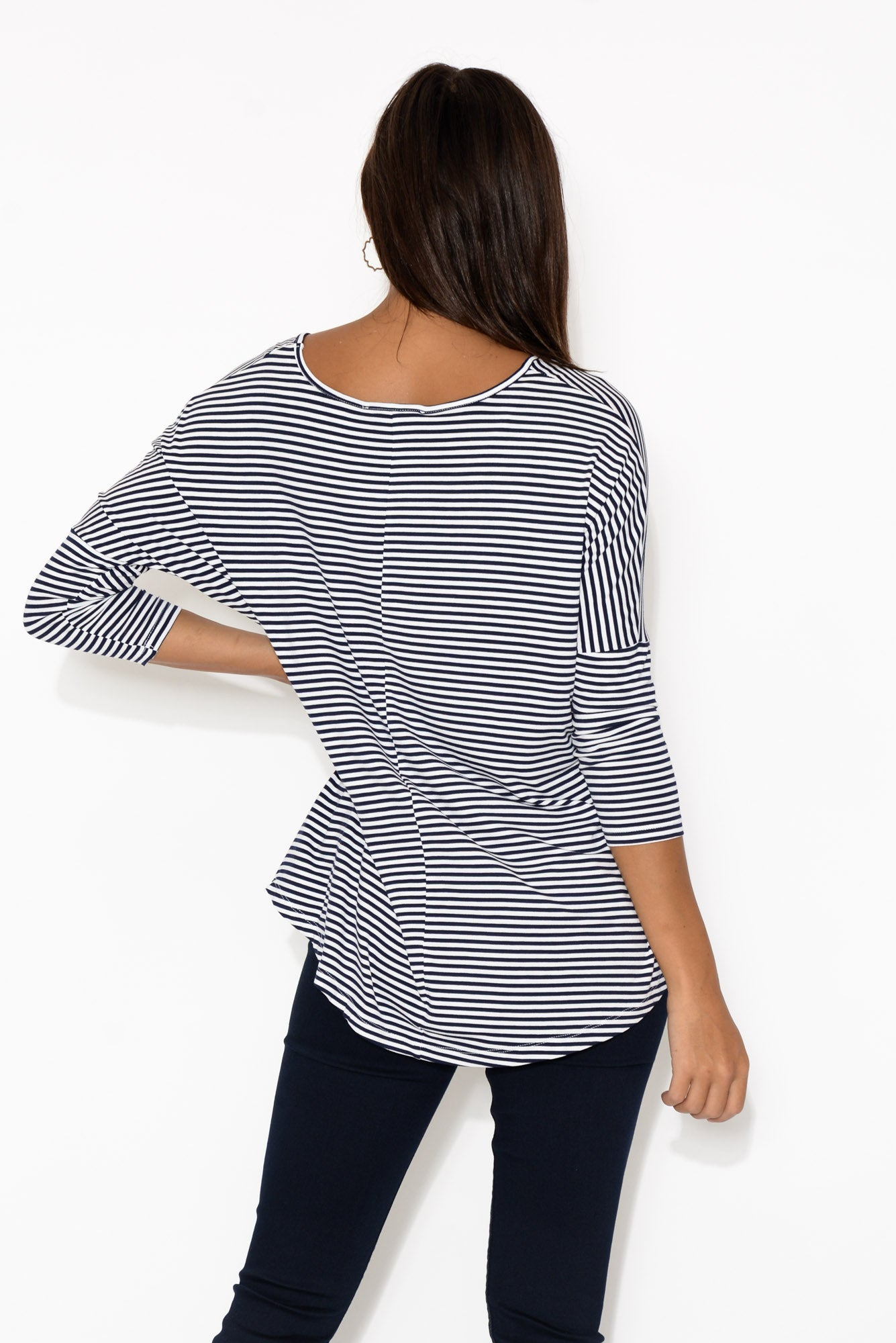 Navy and White Stripe Milan 3/4 Sleeve Top