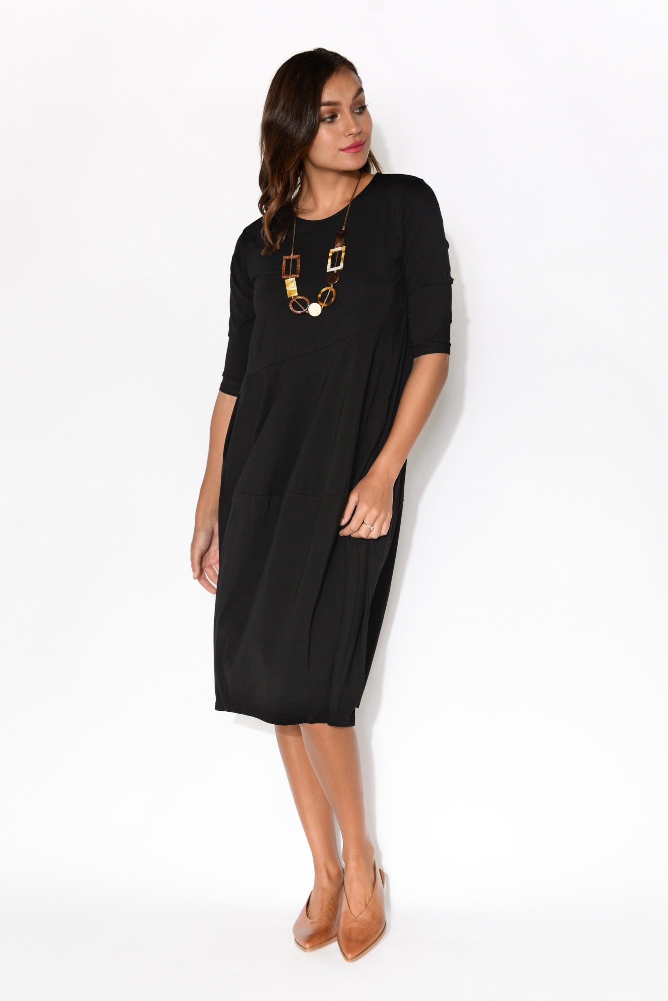 Nell Black Cotton Dress