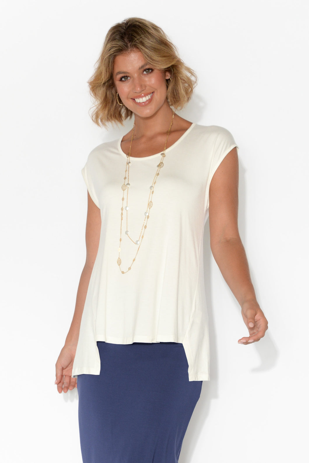 Nessie White Step Hem Top