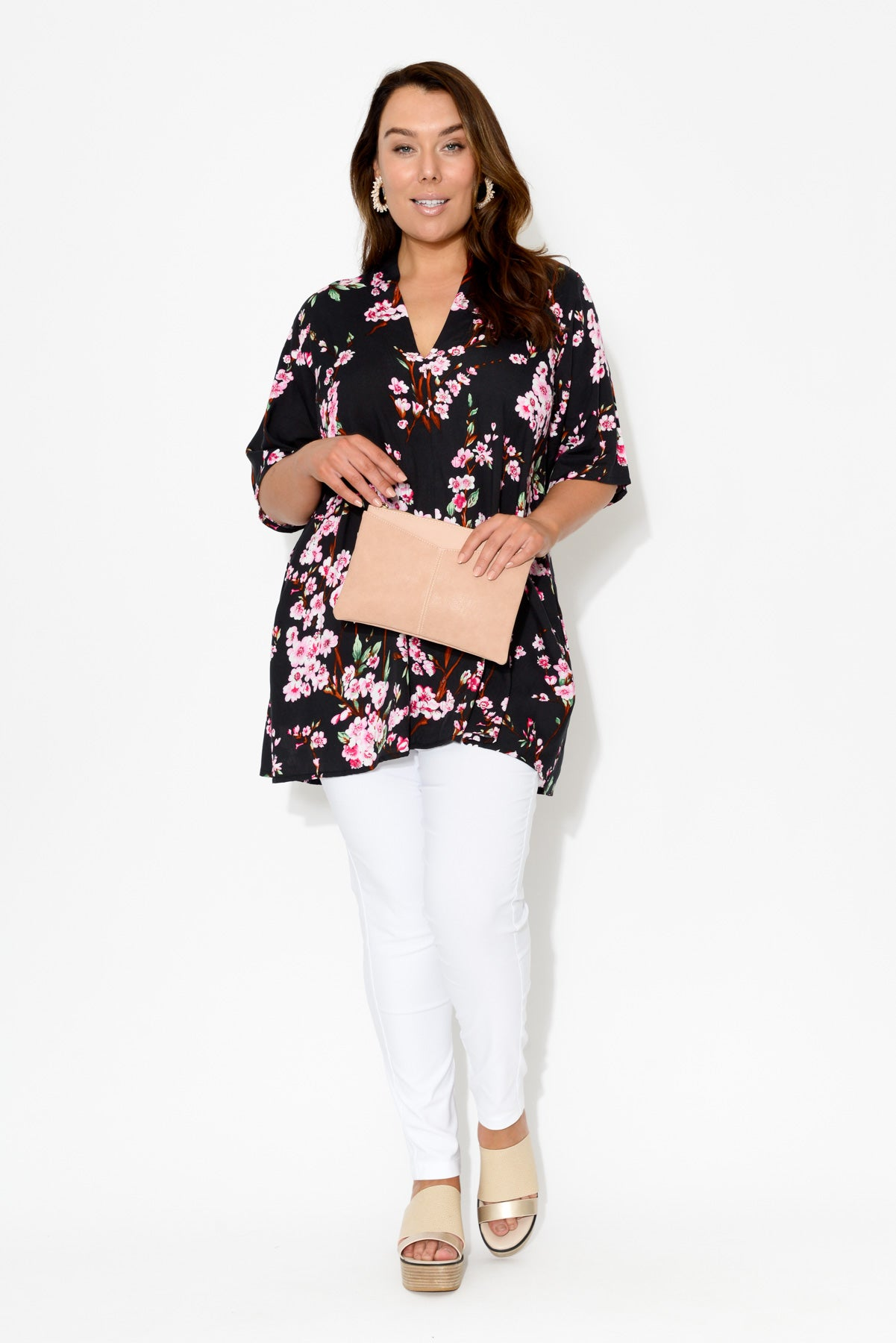 Neve Black Blossom Tunic Top