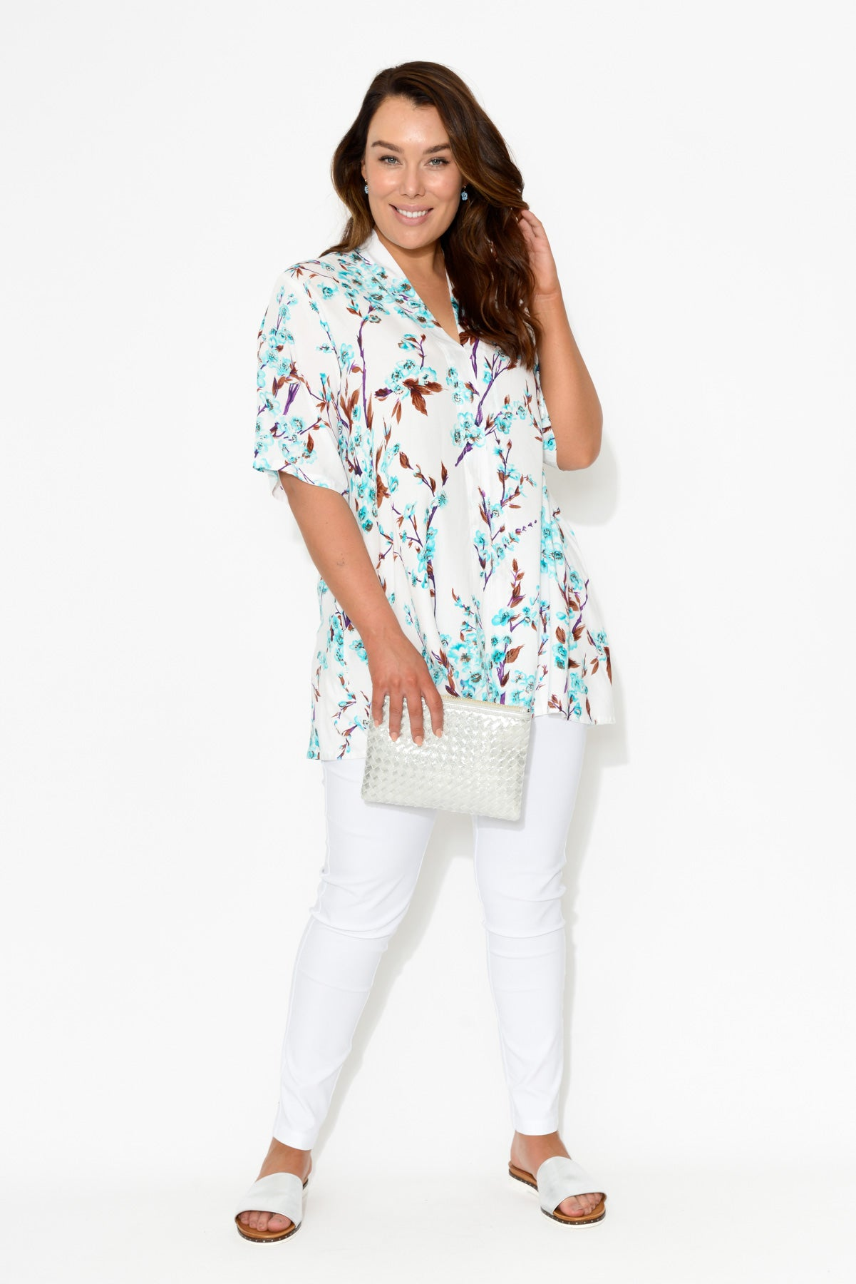 Neve Blue Blossom Tunic Top