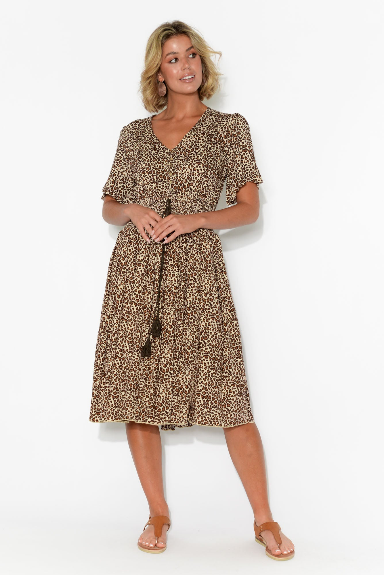 Nia Leopard Button Front Dress