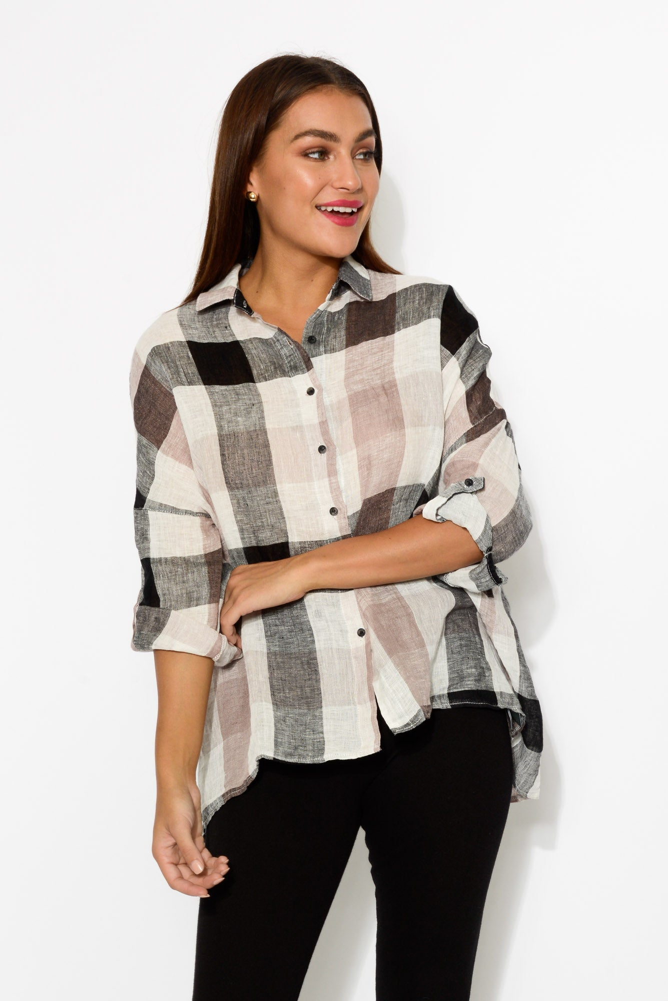 Nina Black Check Linen Shirt - Blue Bungalow