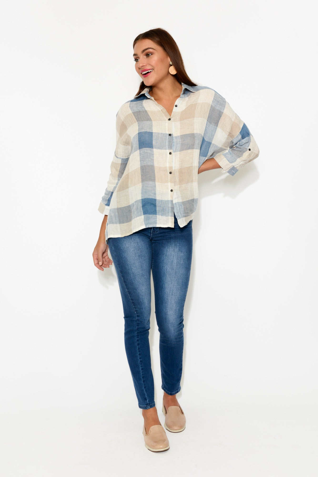 Nina Blue Check Linen Shirt - Blue Bungalow