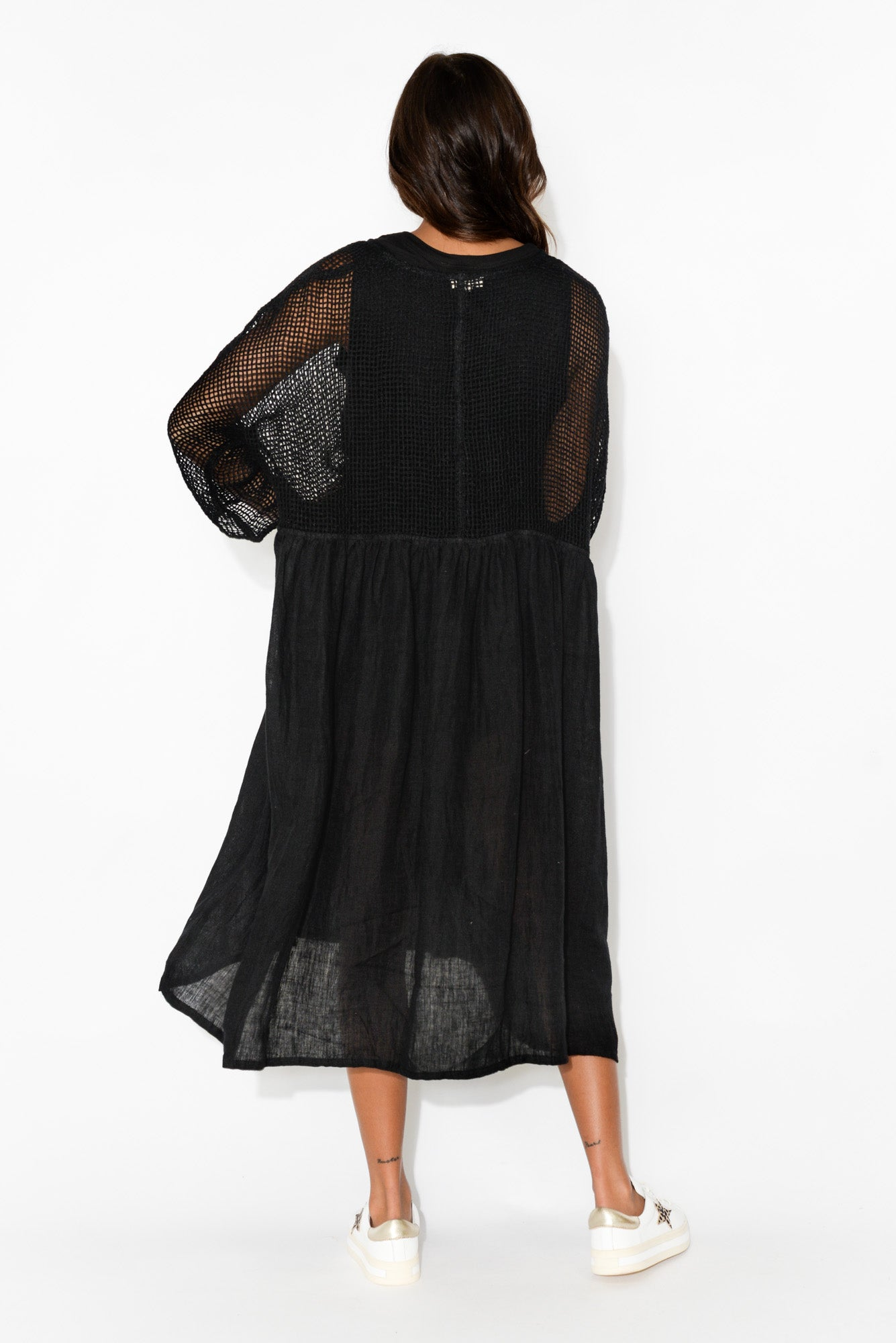 Nissa Black Sleeved Linen Dress