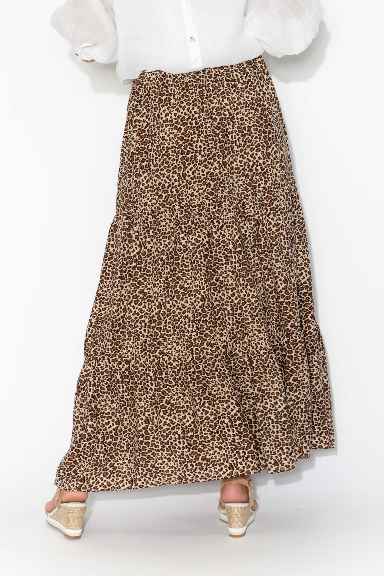 Noah Brown Leopard Tier Maxi Skirt