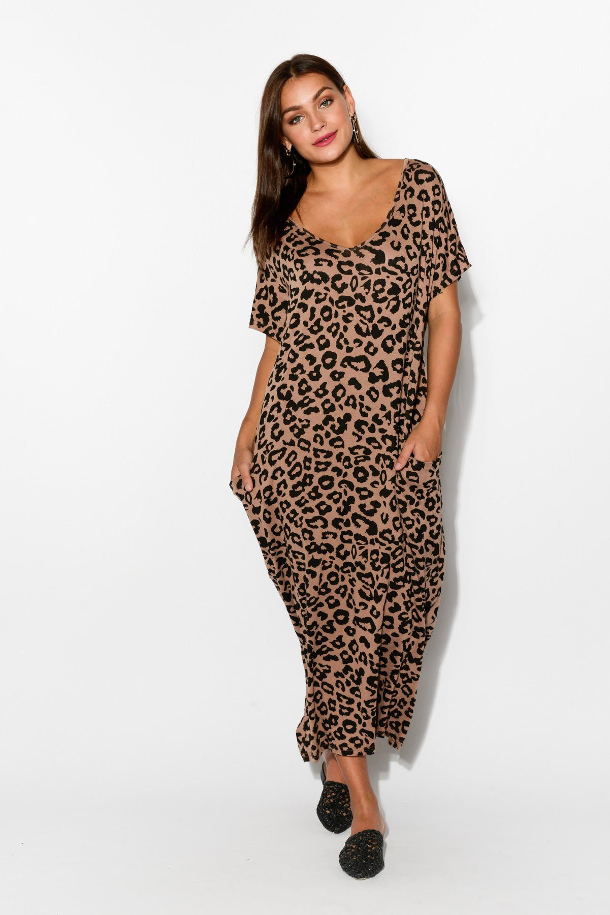 Noelle Brown Leopard Draped Dress - Blue Bungalow