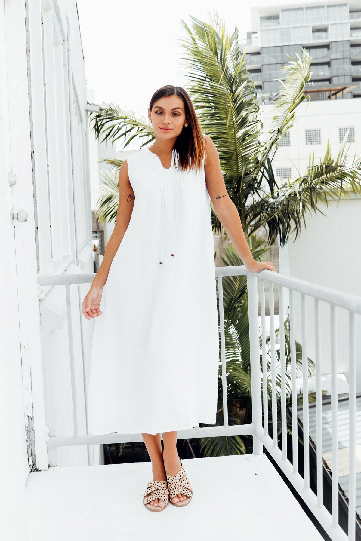 Nomad White Linen Sleeveless Dress