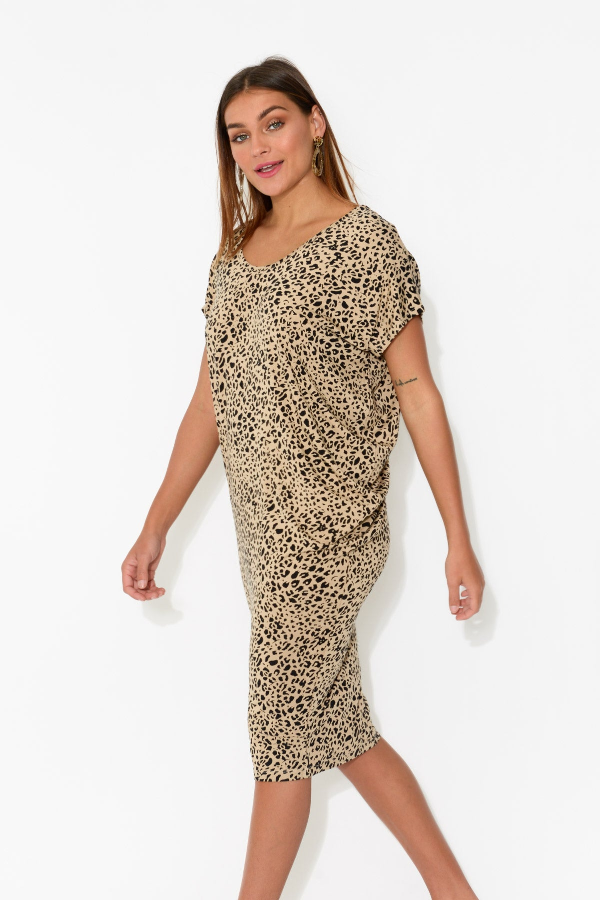 Nora Leopard Bamboo Dress - Blue Bungalow