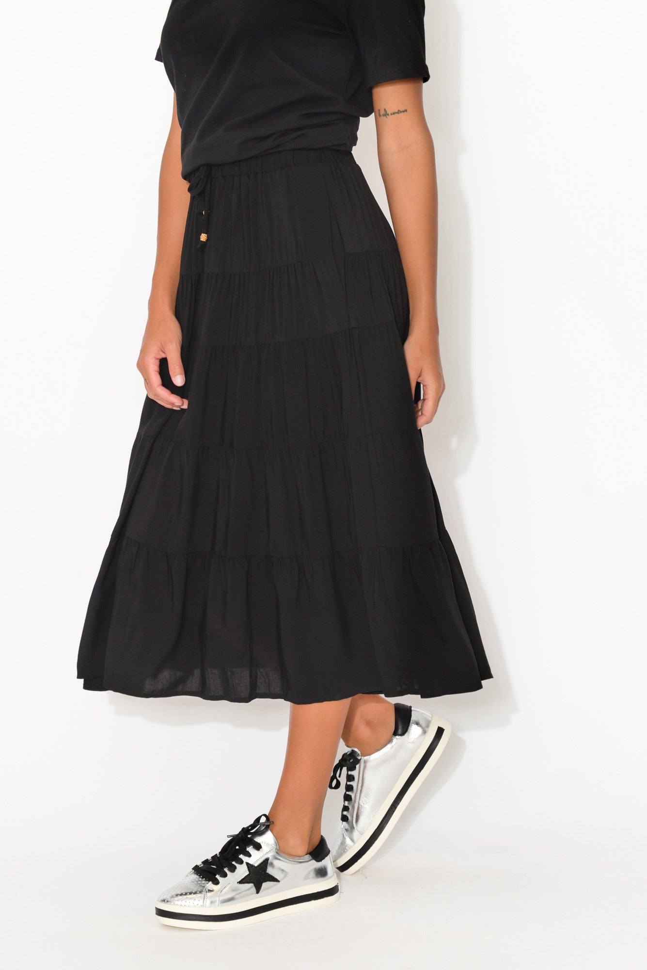 Norabel Black Tiered Skirt