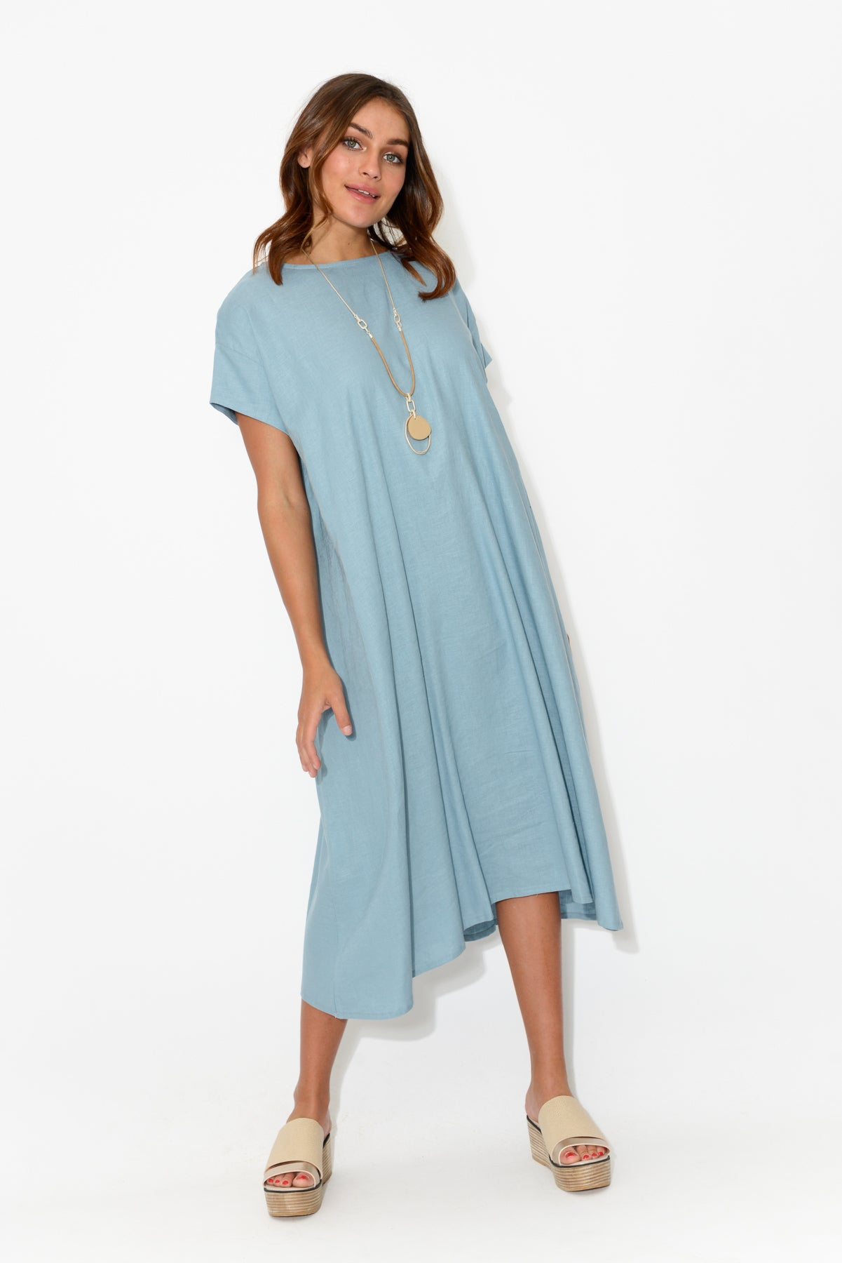 Nova Blue Gather Back Dress - Blue Bungalow
